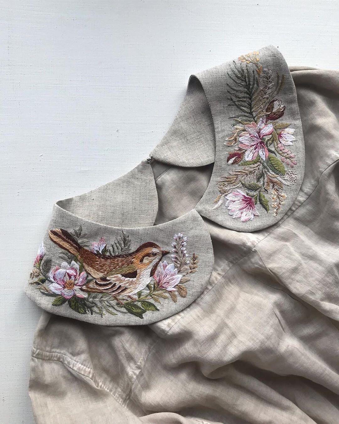 cổ áo thêu tay chim họa mi hoa lá