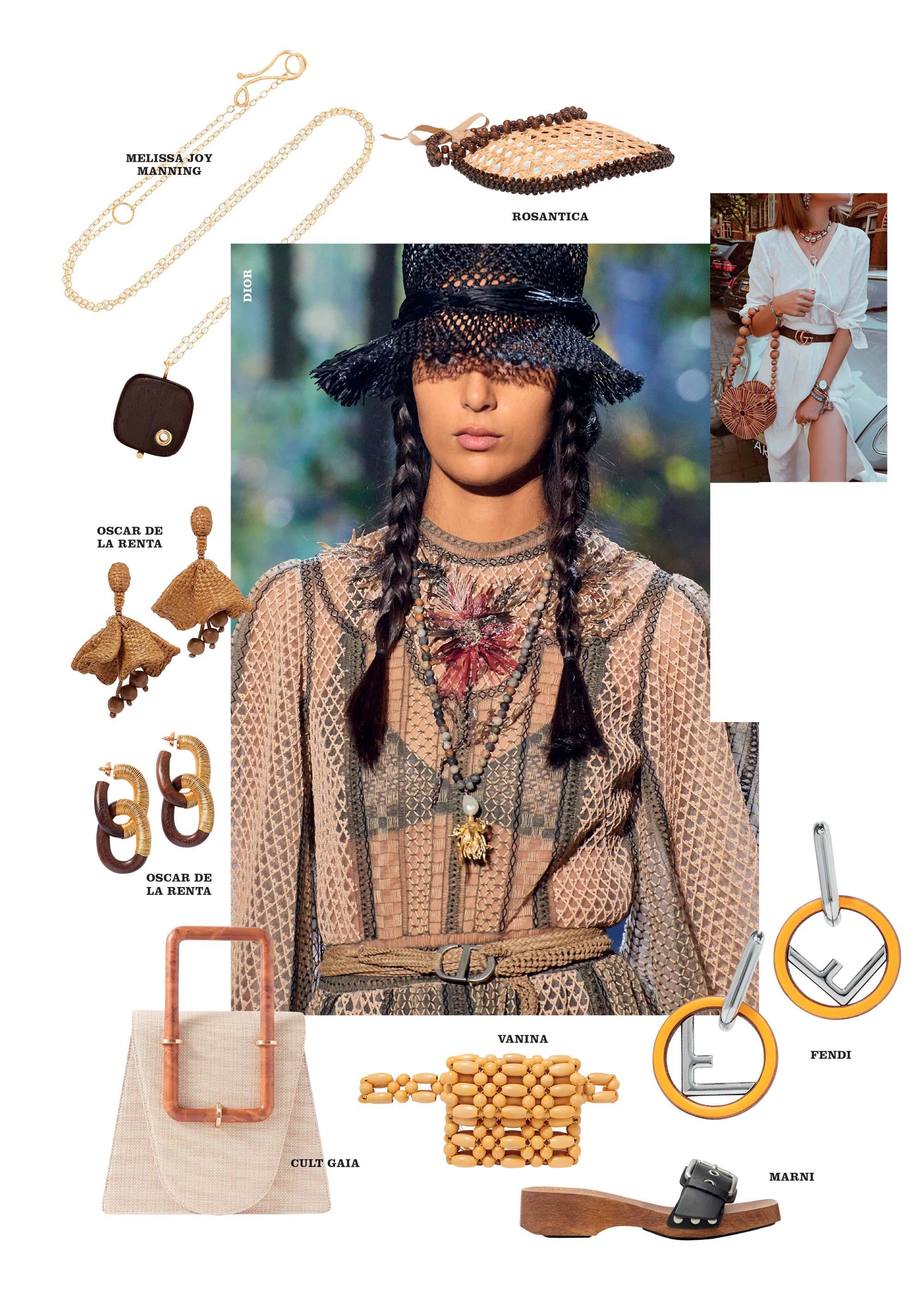 thời trang xuân hè 2020 phụ kiện theo nguyên liệu gỗ