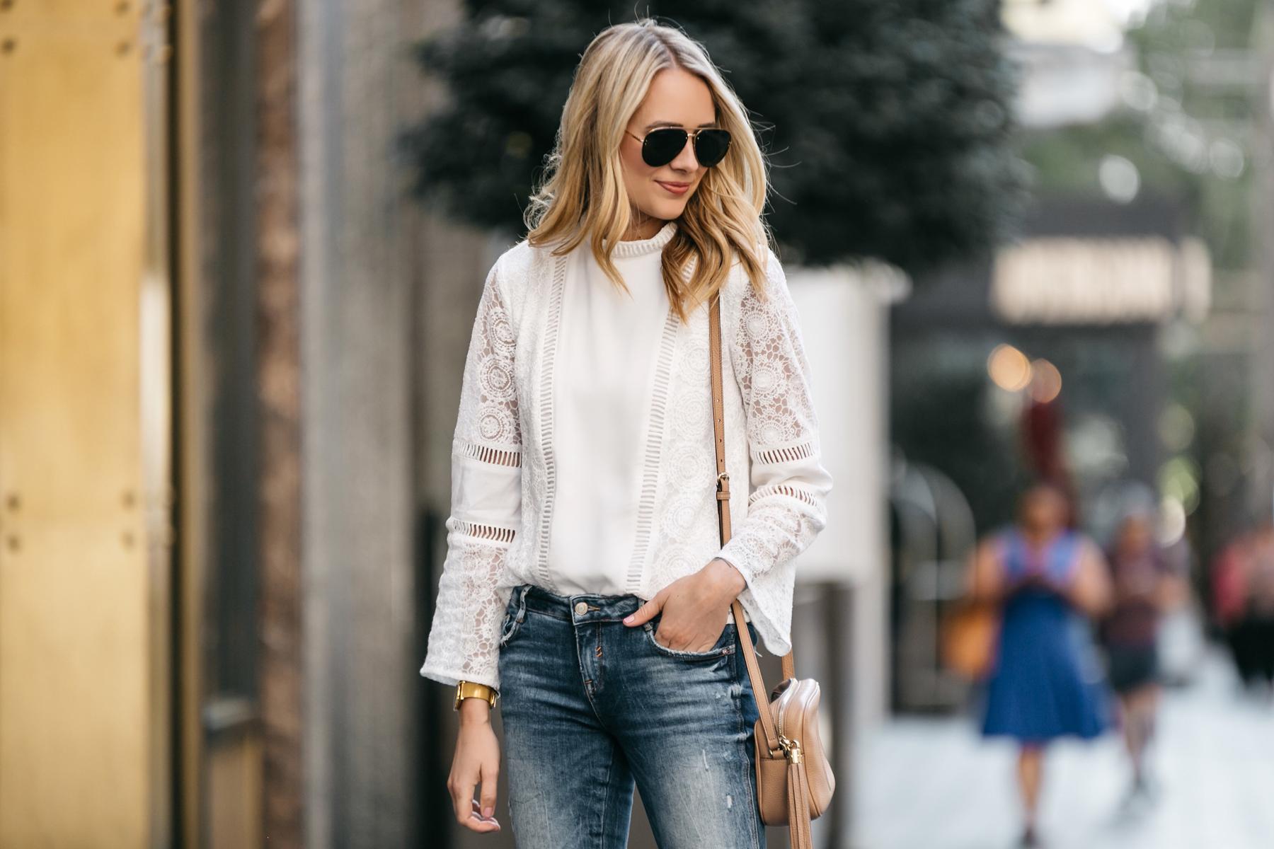 thời trang công sở áo ren trắng tay dài fashion jackson