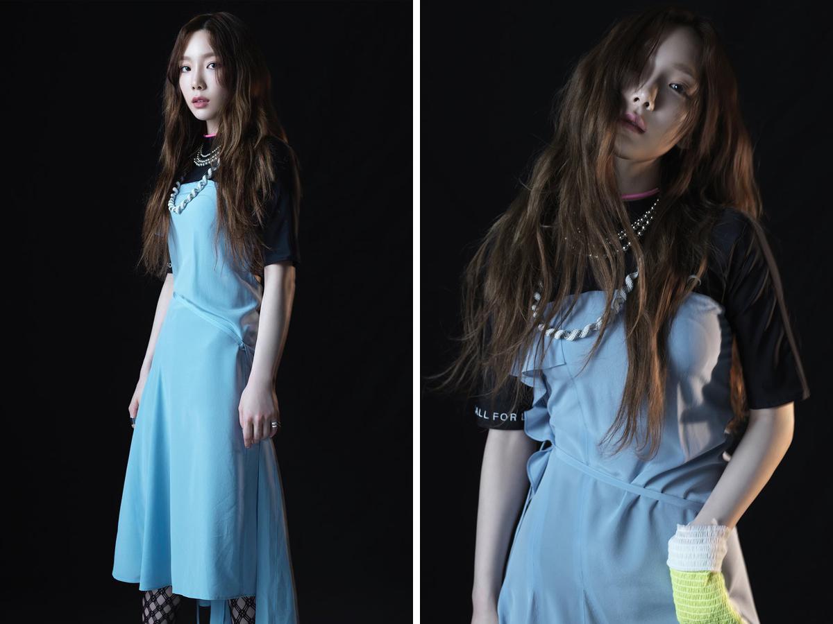 Ca sĩ Taeyeon mặc đầm xanh da trời trong MV Something New