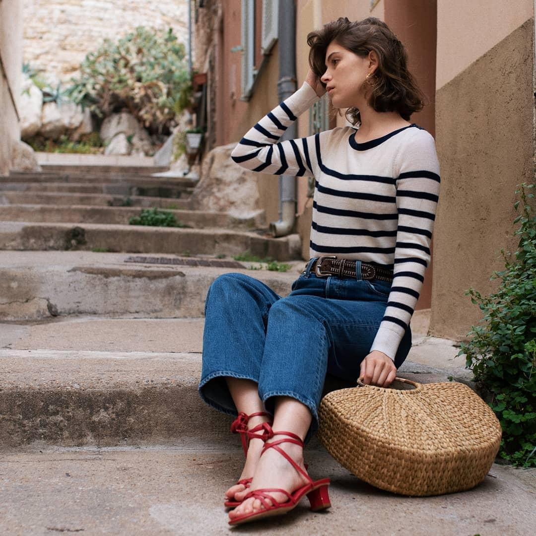 giày sandal gót thấp màu đỏ thắt dây