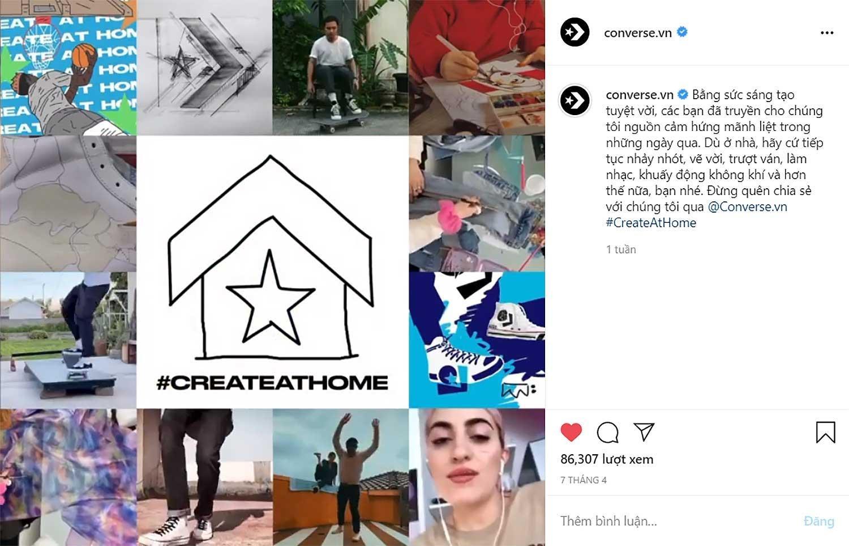 converse bài đăng tỏng hợp người tham gia chiến dịch create at home