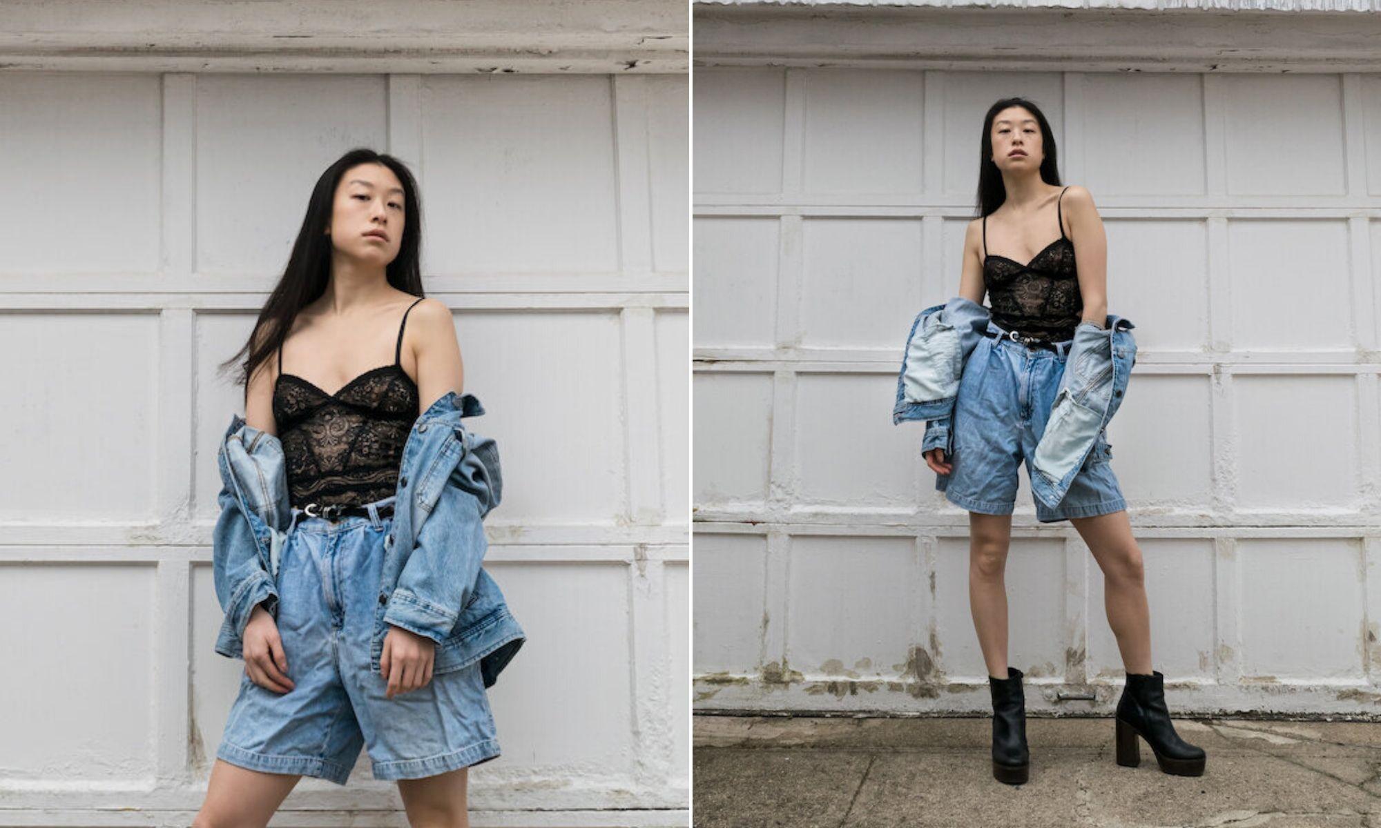 quần shorts bermuda nữ chất liệu denim áo ren dây đen