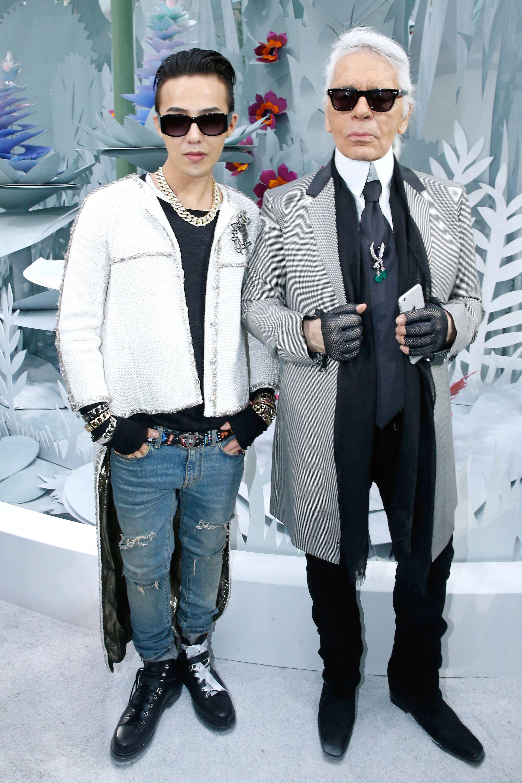 thời trang sao Hàn g-dragon chụp ảnh cùng Karl Lagerfeld