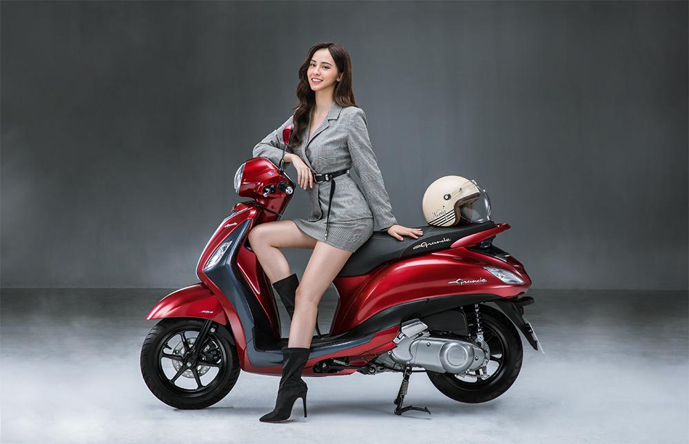 yamaha grande chất riêng của người phụ nữ hiện đại phiên bản xe màu đỏ