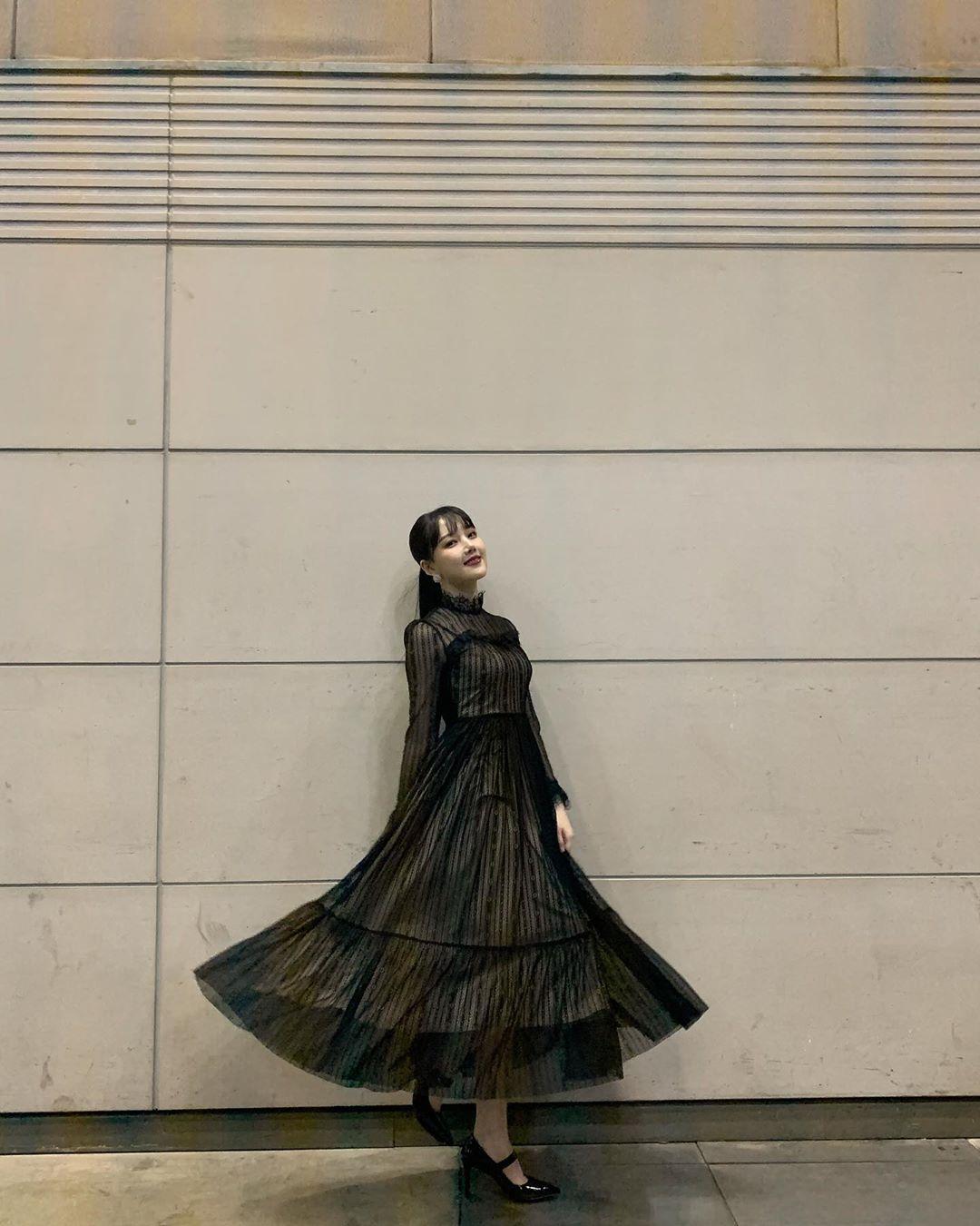 đầm cho dáng hình chữ nhật đầm váy xòe đen