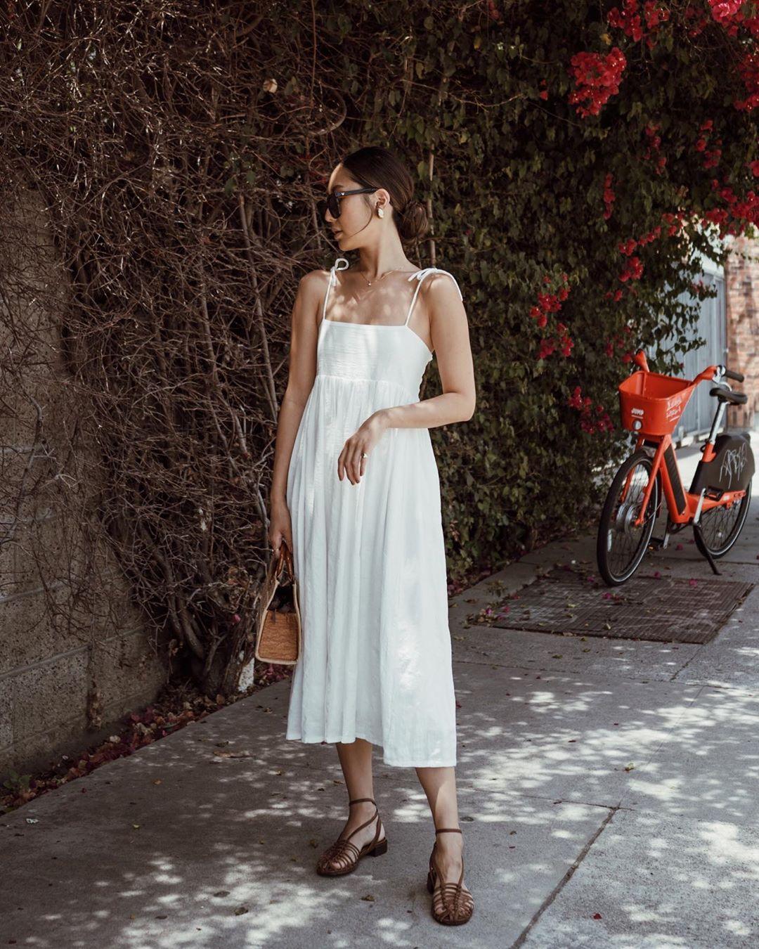 đầm cho dáng hình chữ nhật đầm váy xòe trắng sophia chang