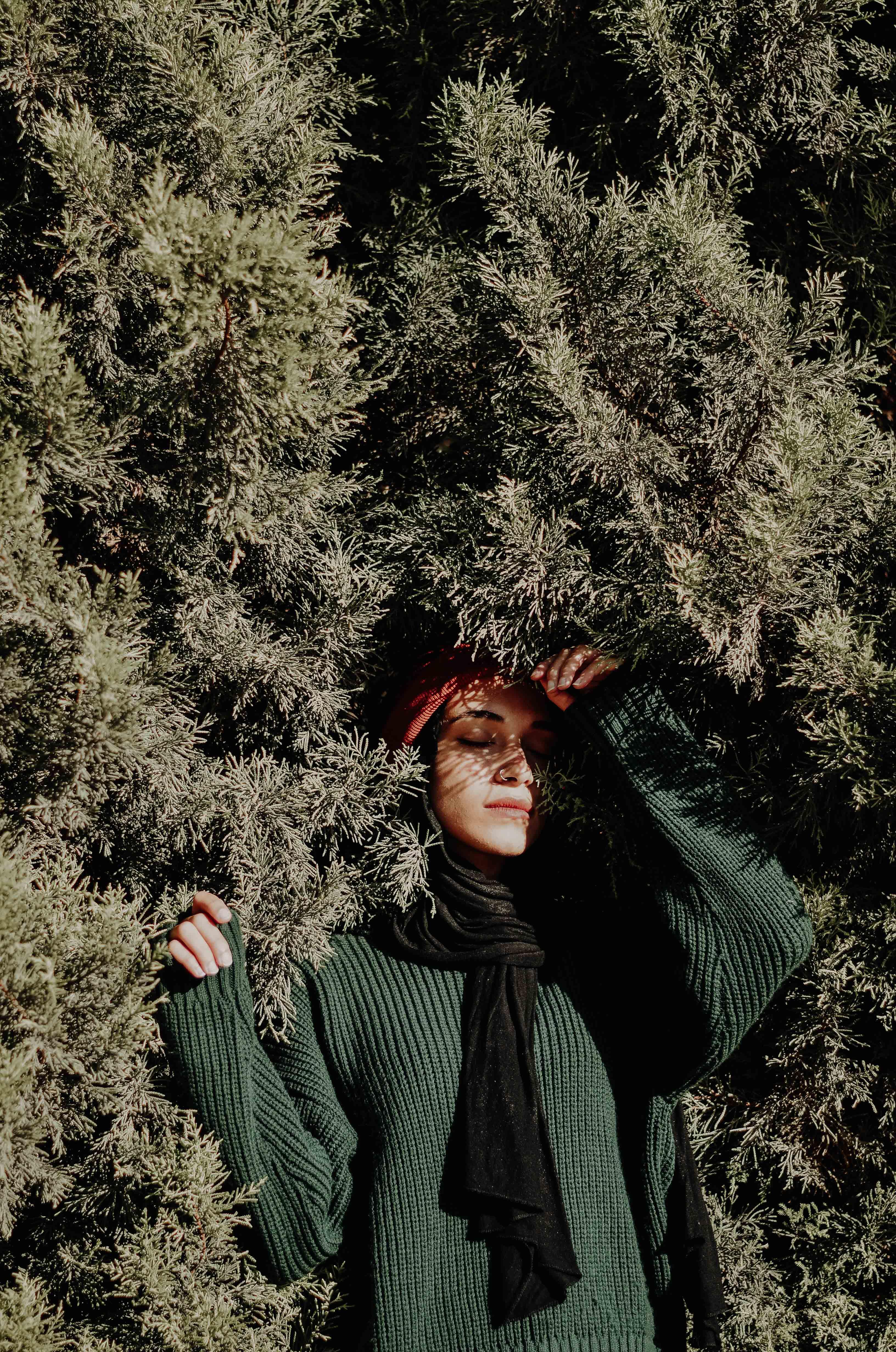 cô gái bên bụi cây