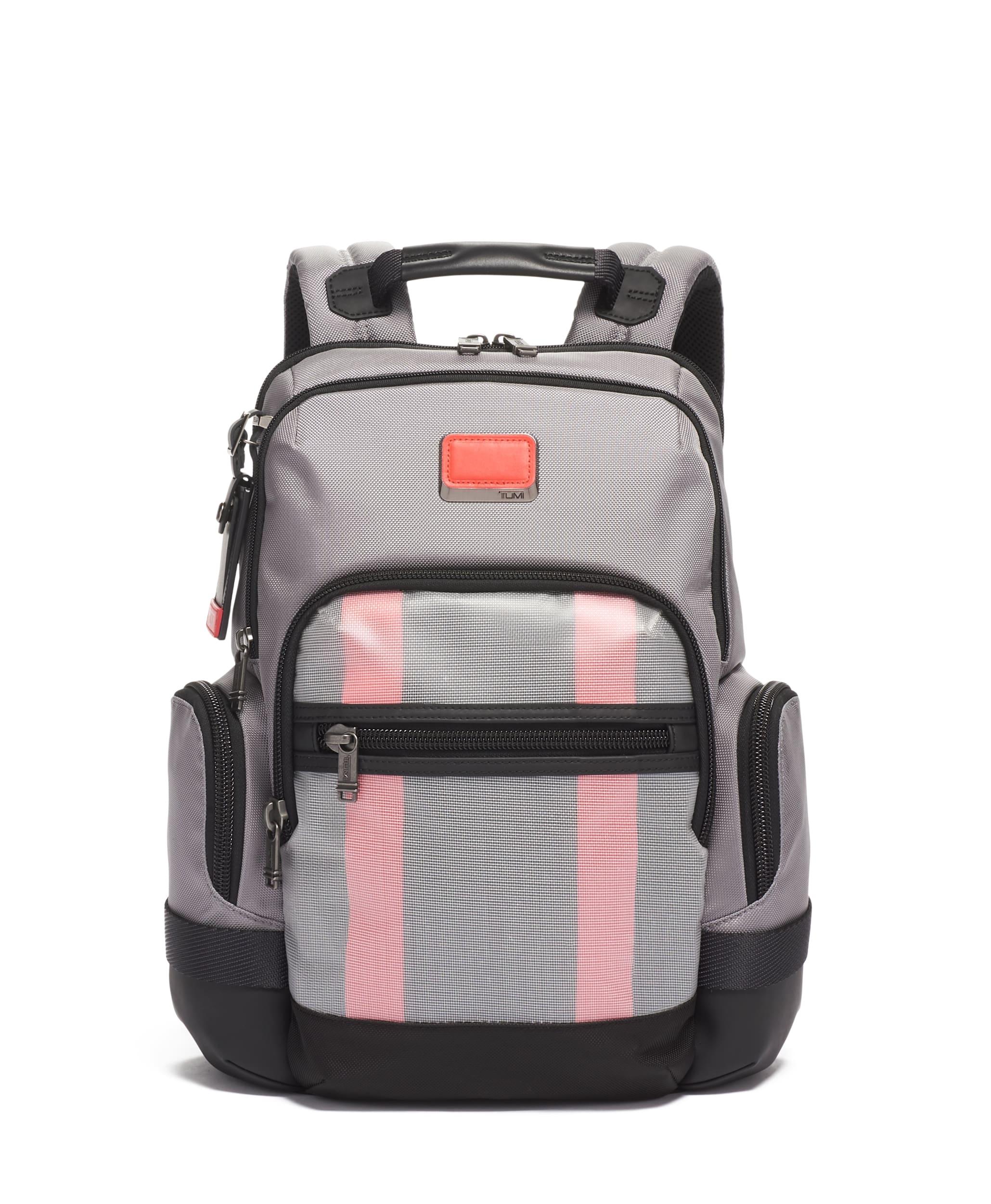 balo TUMI Alpha Bravo Norman Backpack balo màu xám đỏ rực