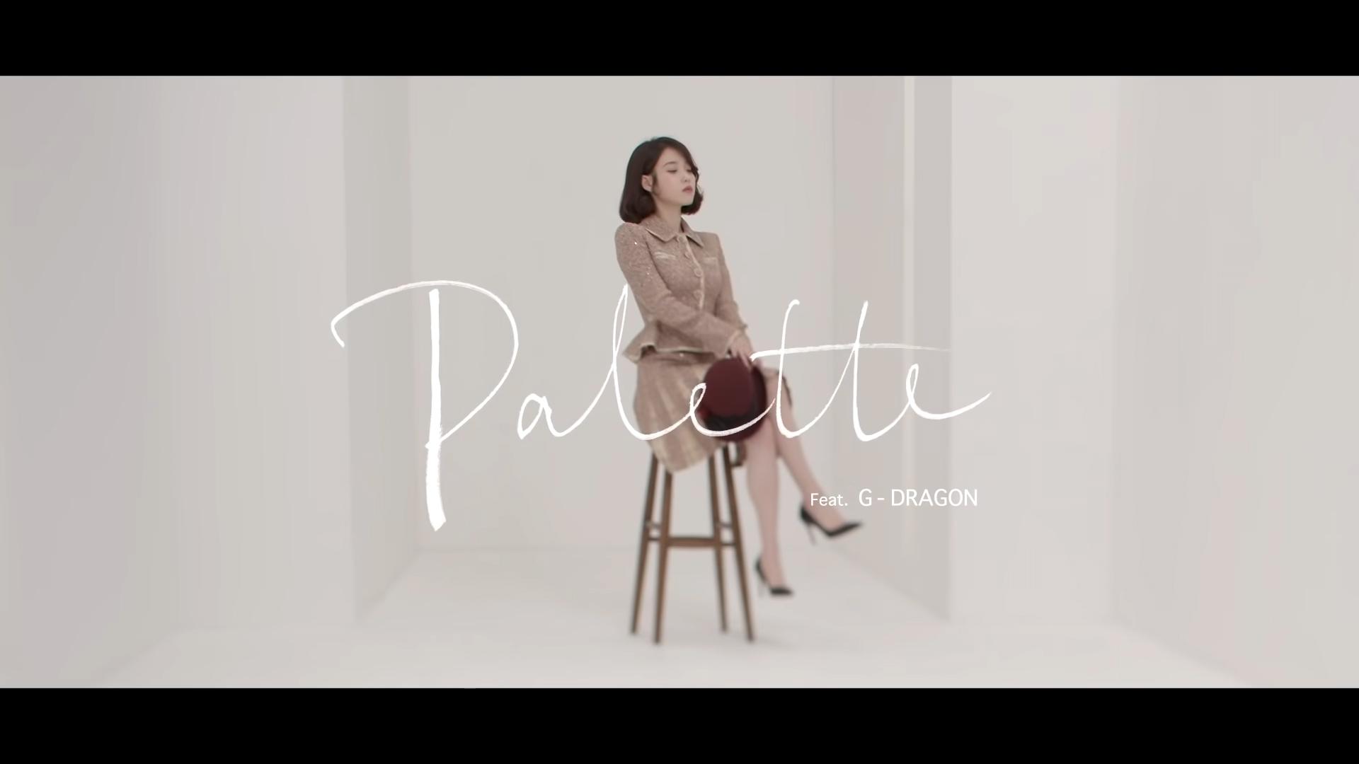 ca sĩ IU mặc âu phục váy tweed trong MV Palette