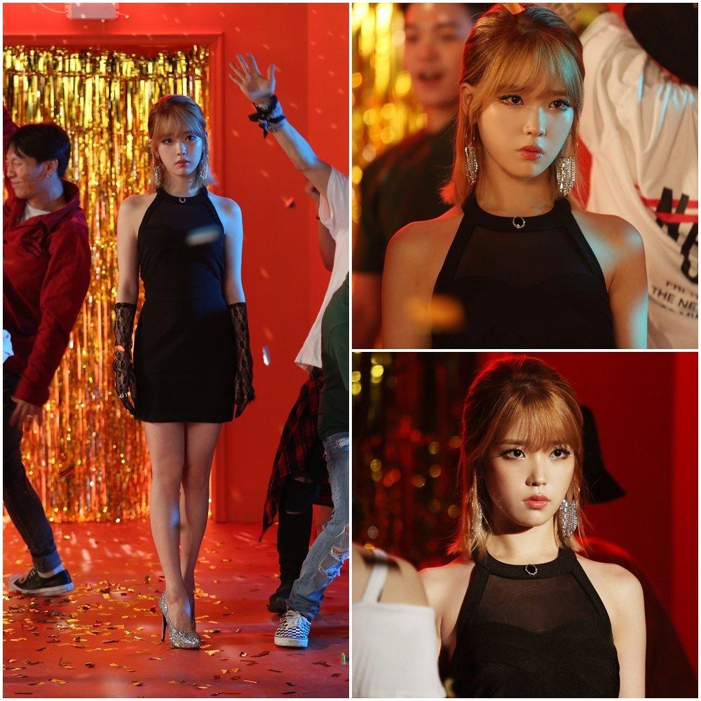 IU mặc đầm đen, đeo găng tay ren trong MV last night story