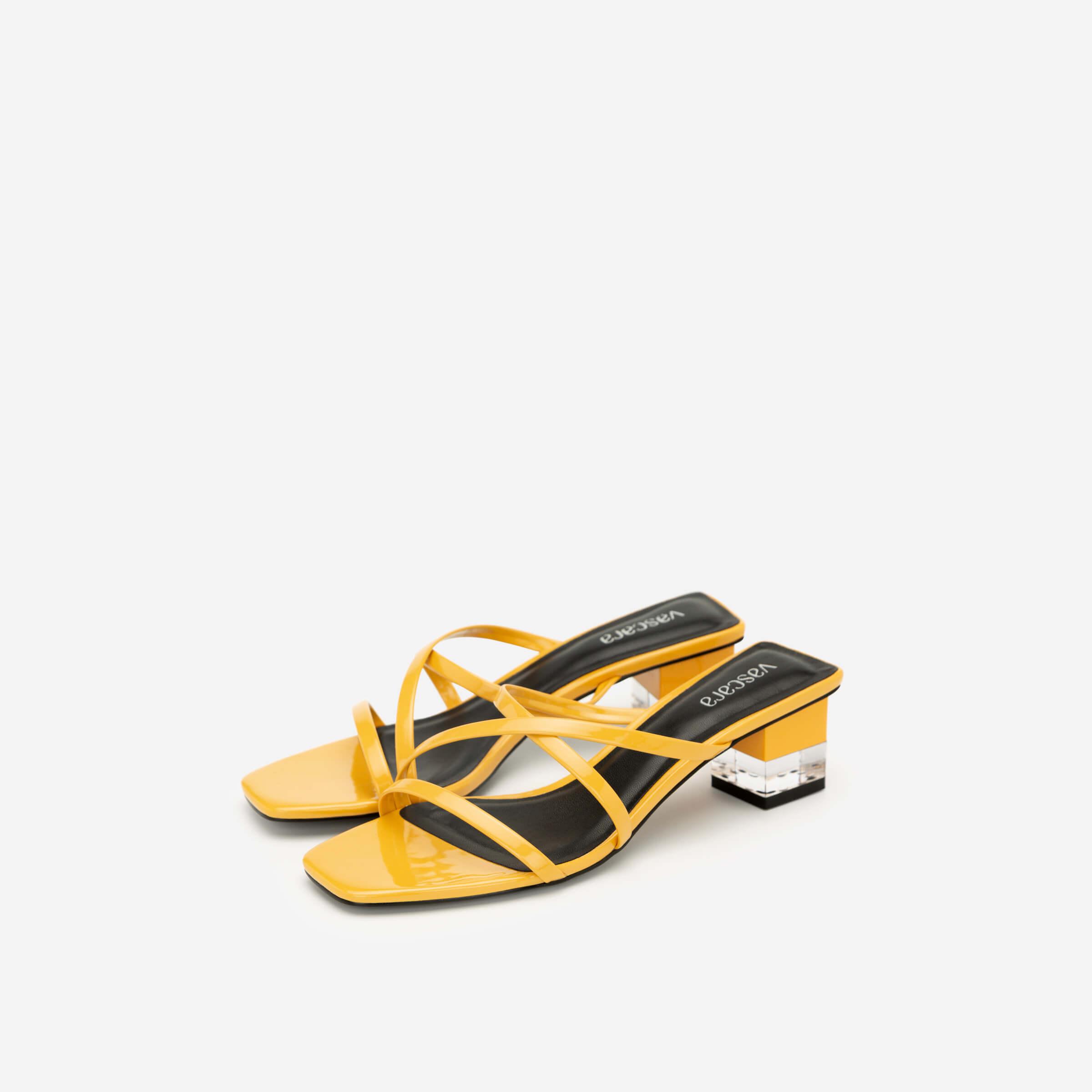 Giày mules dây mảnh màu vàng Vascara