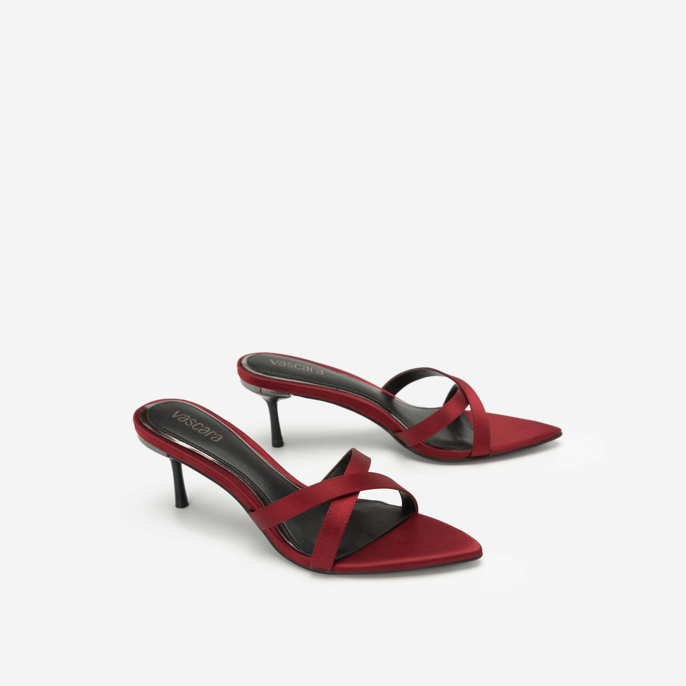 Giày mules chéo dây màu đỏ đô Vascara
