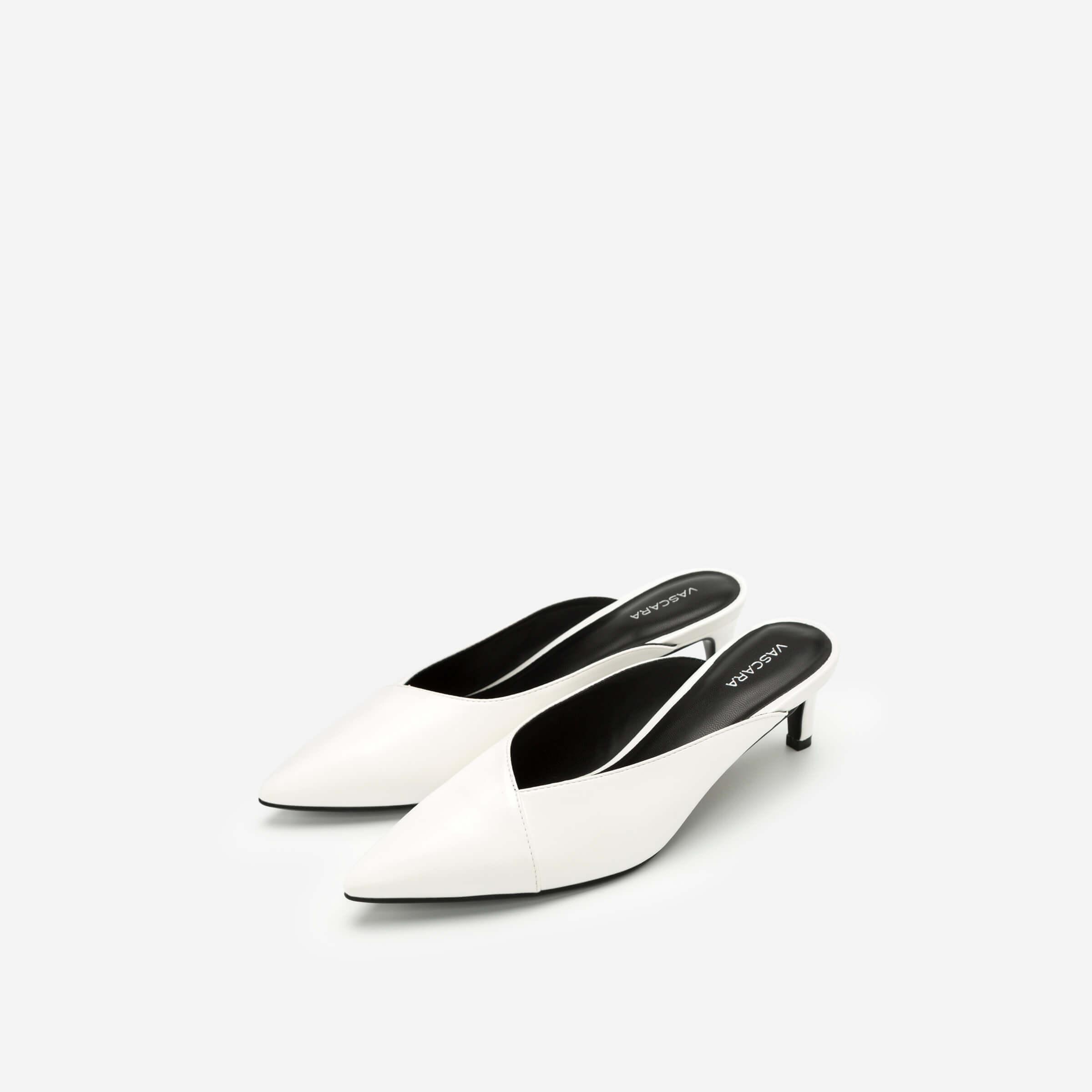 Giày mules mũi nhọn màu trắng Vascara