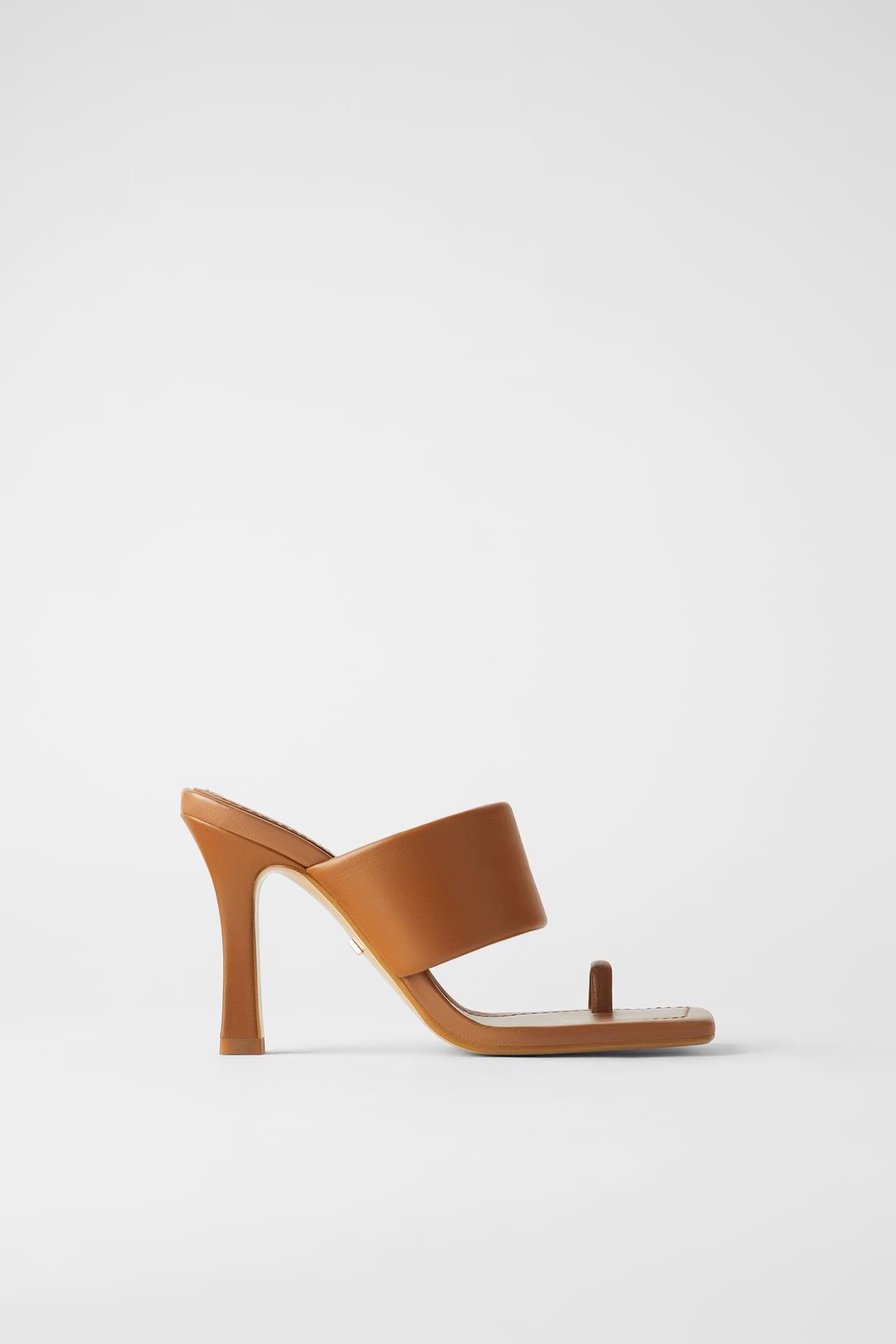 Giày mules Zara xỏ ngón màu nâu