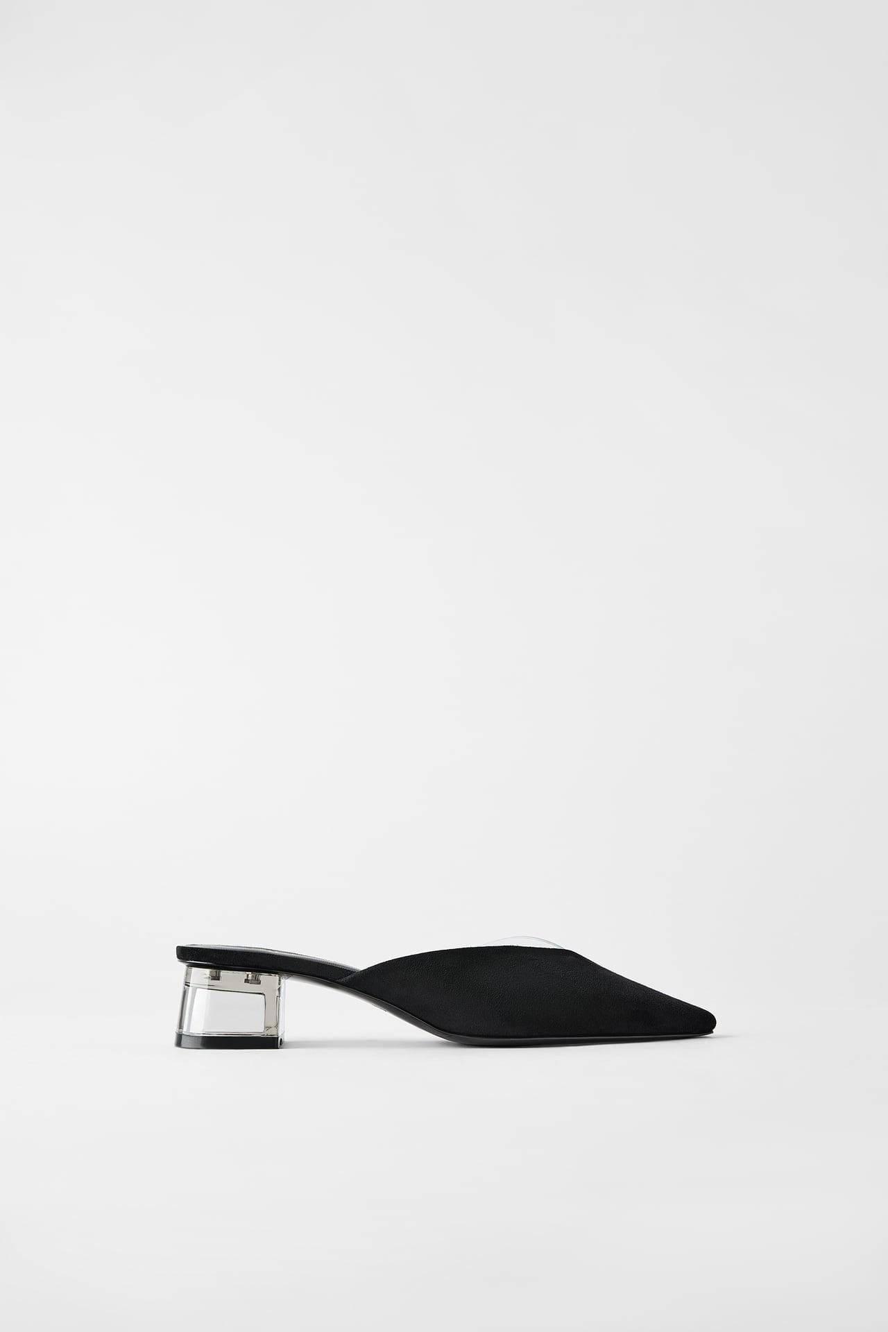 Giày mules mũi nhọn màu đen ZARA