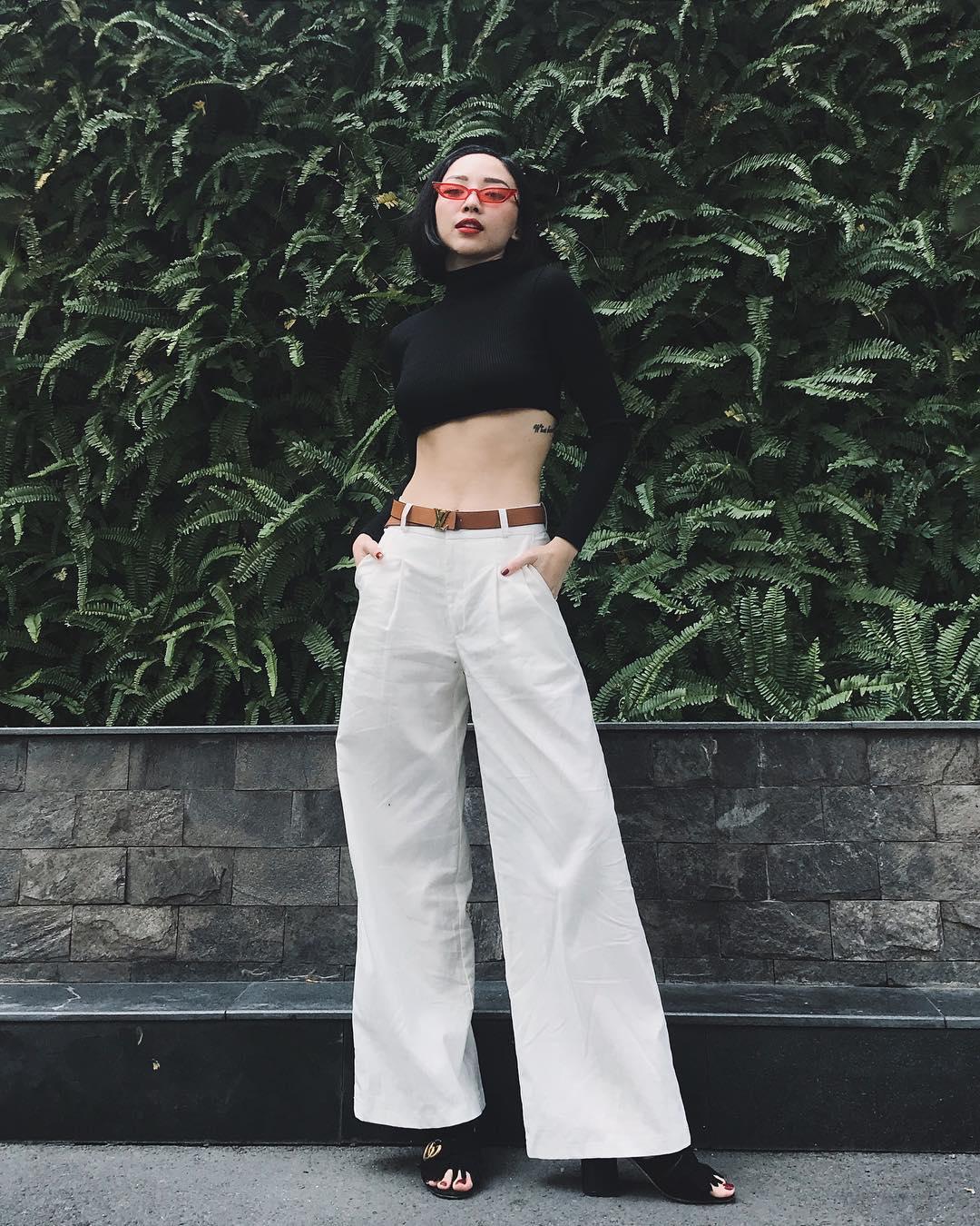 quần trắng mùa hè palazzo crop top tóc tiên