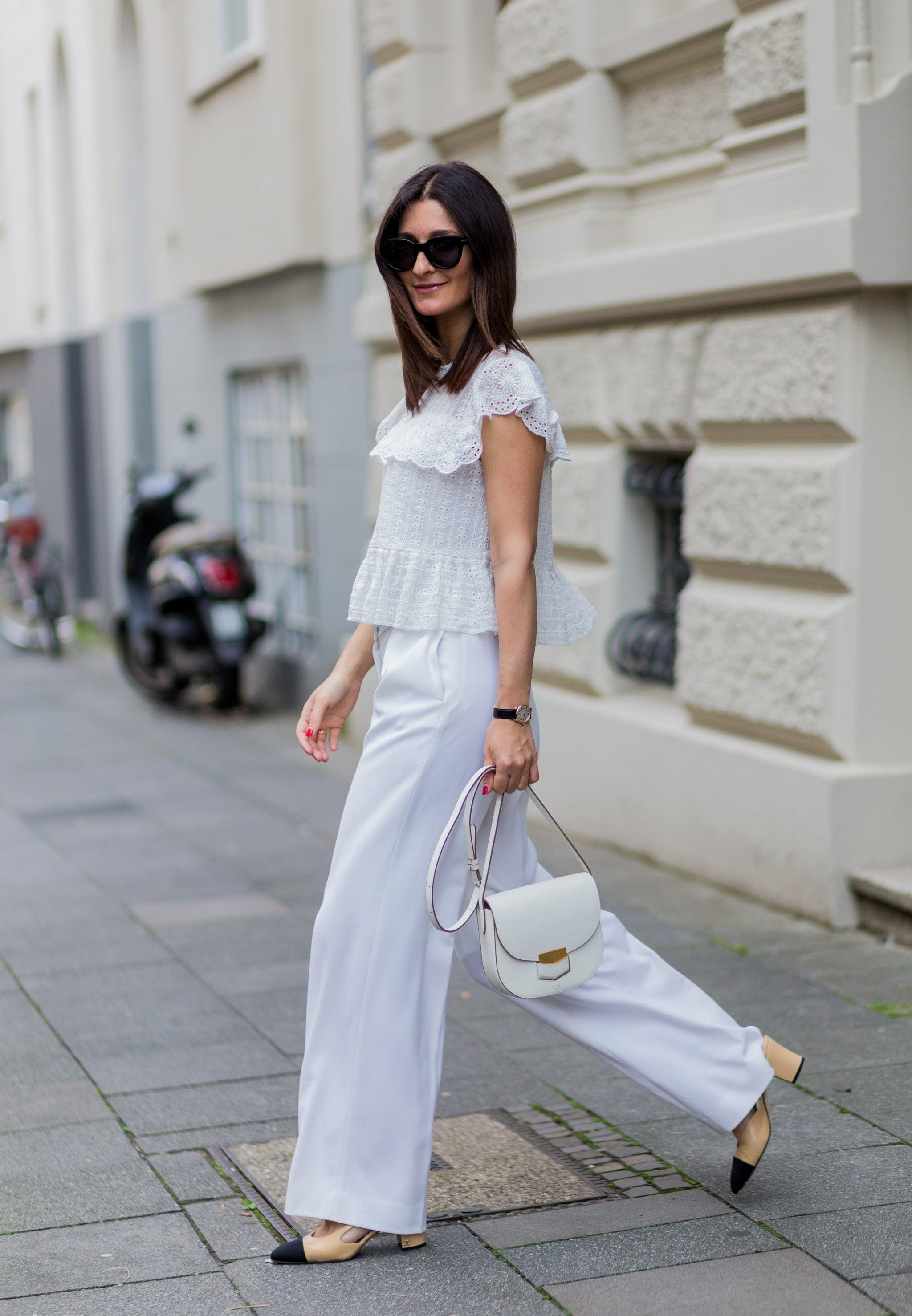 quần trắng palazzo áo ren trắng mùa hè pop sugar