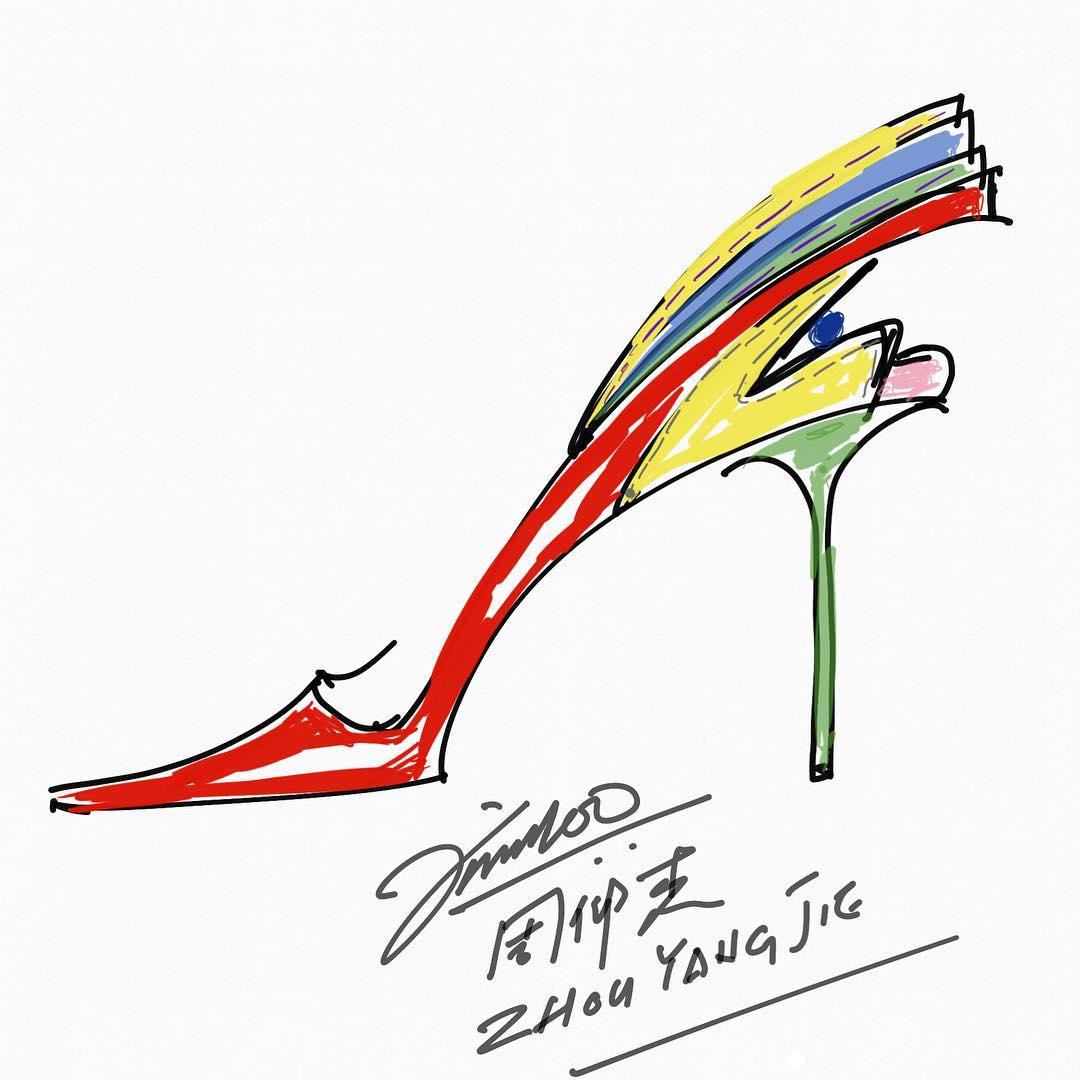bản phác họa thiết kế của NTK Prof. Jimmy Choo, OBE