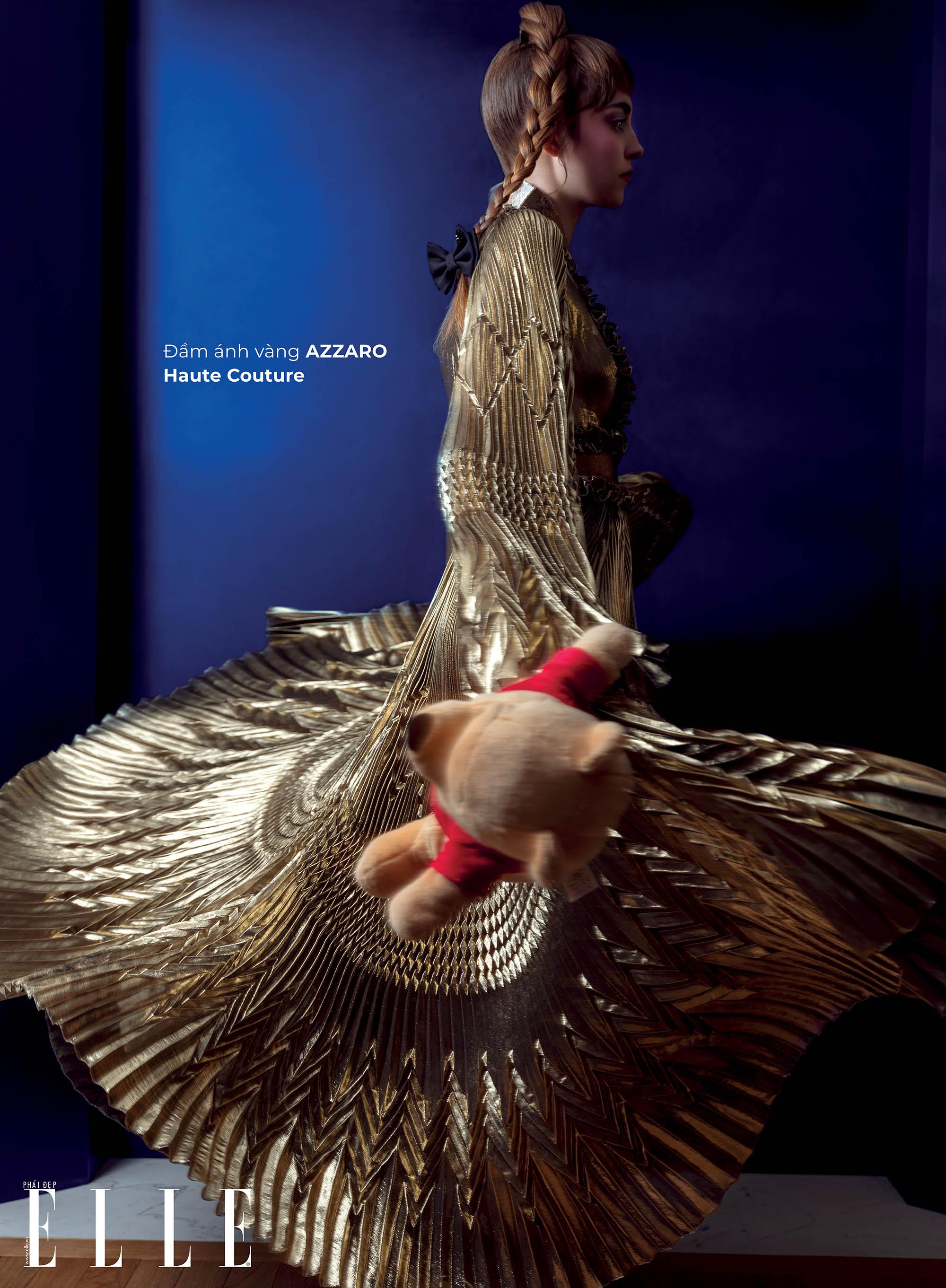 haute couture đầm ánh vàng metallic