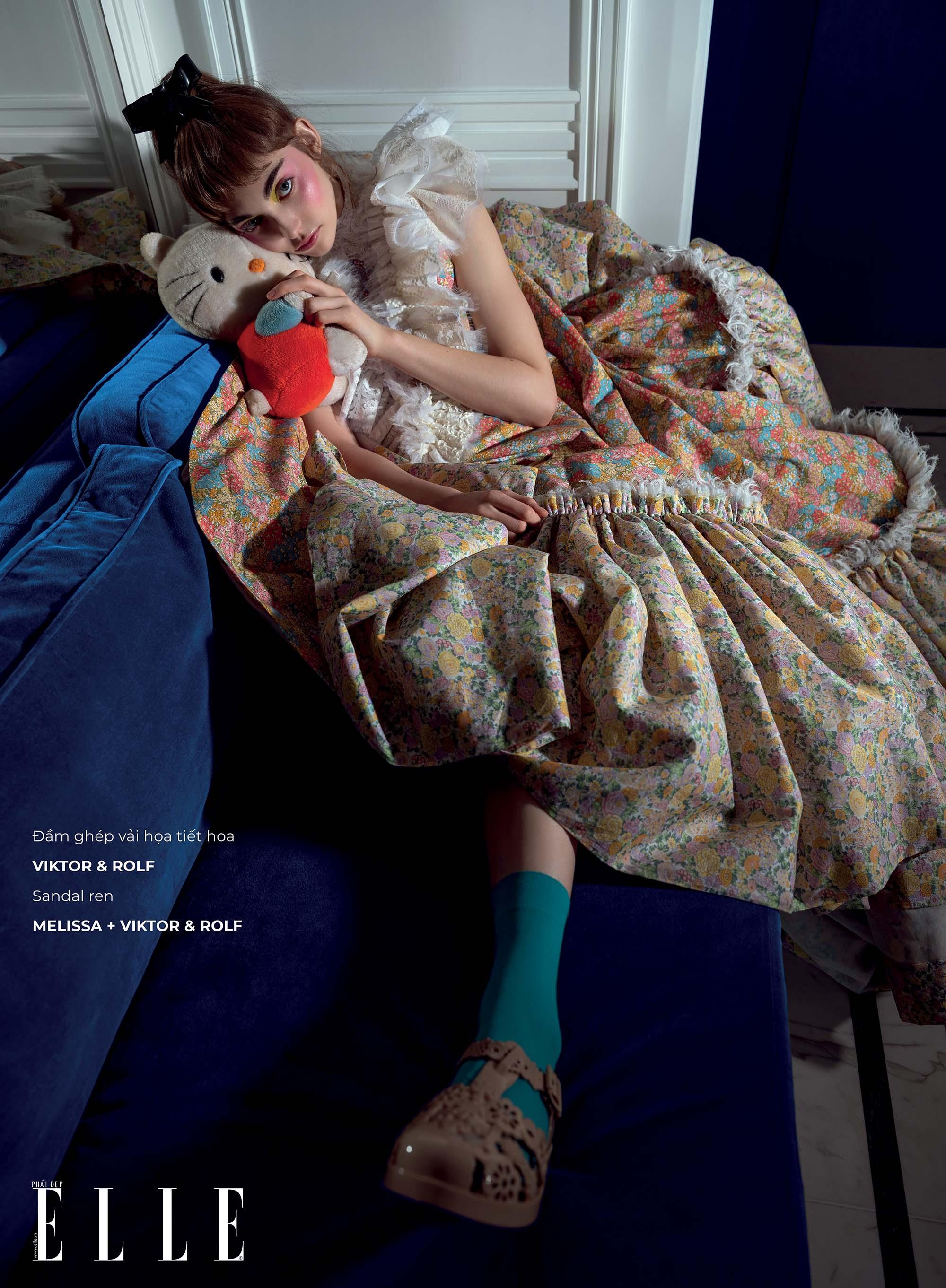 haute couture đầm ghép họa tiết hoa