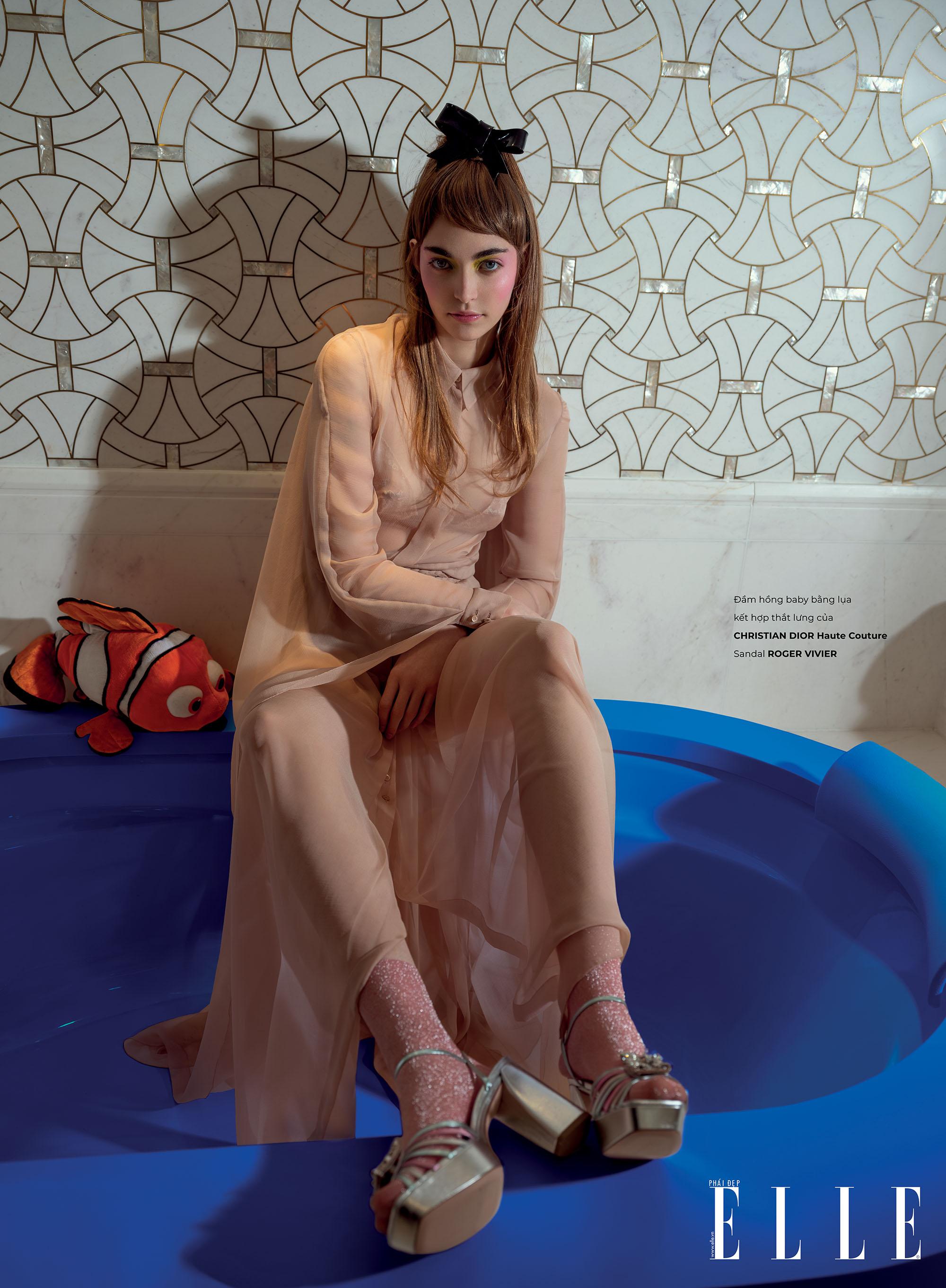 haute couture đầm lụa hồng nhạt