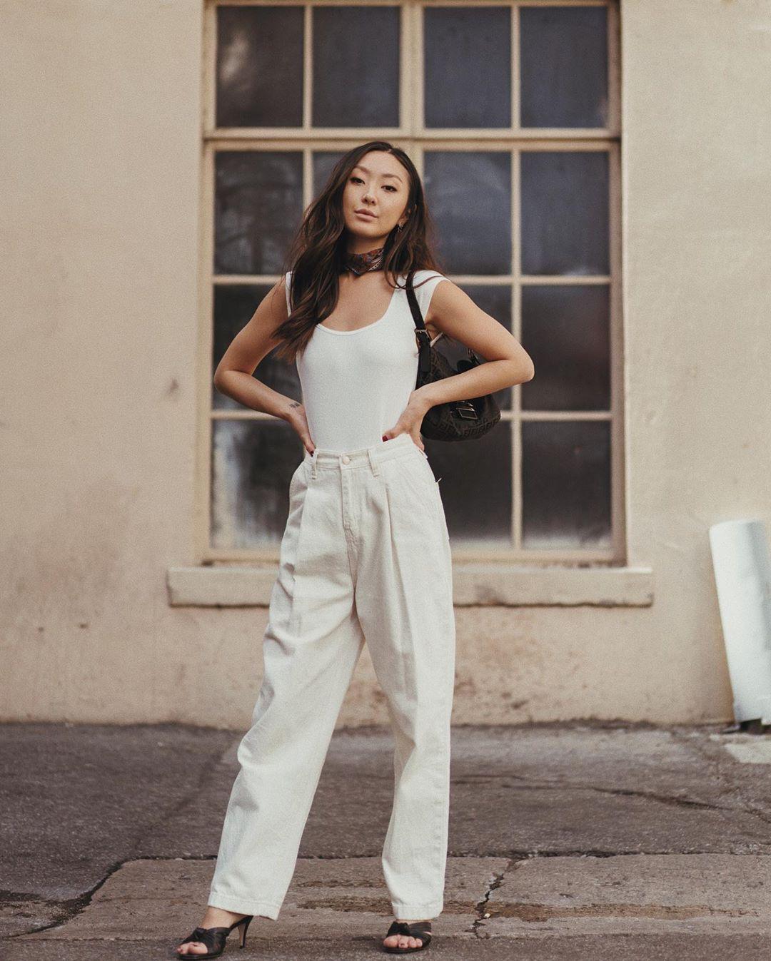 quần trắng dài áo tank top mùa hè sophia chang