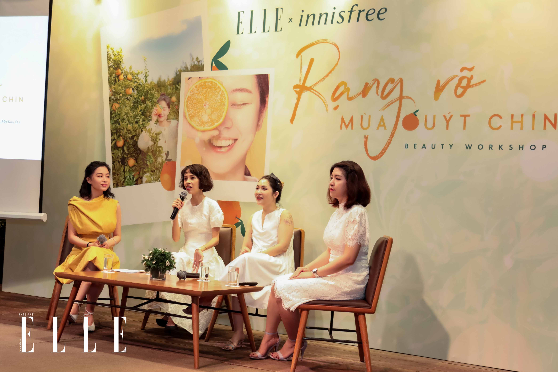 Beauty blogger Nicky Khánh Ngọc phát biểu tại workshop innisfree