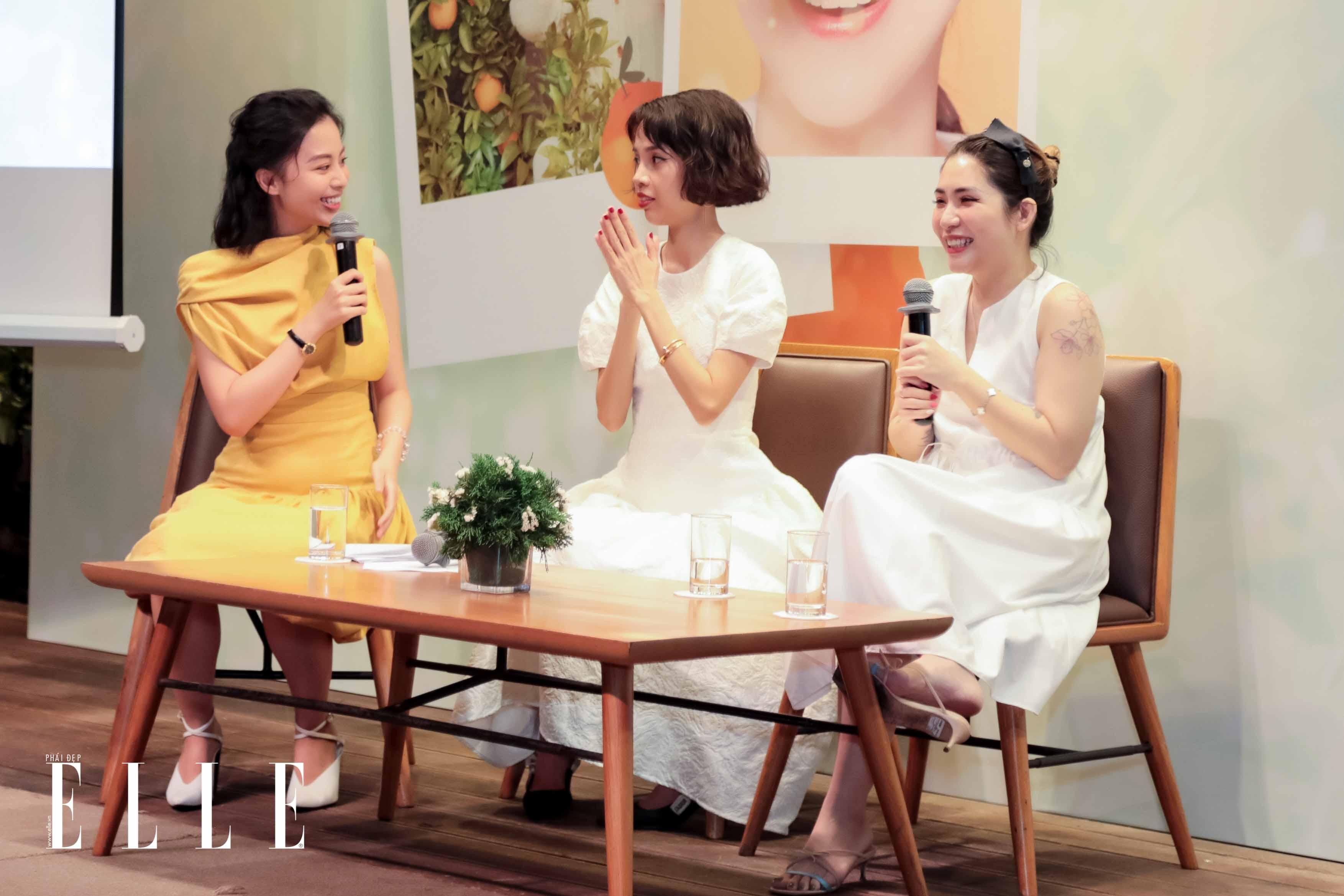 MC Tuyền Tăng, Nicky Khánh Ngọc và Lâm Thúy Nhàn trao đổi tại workshop innisfree
