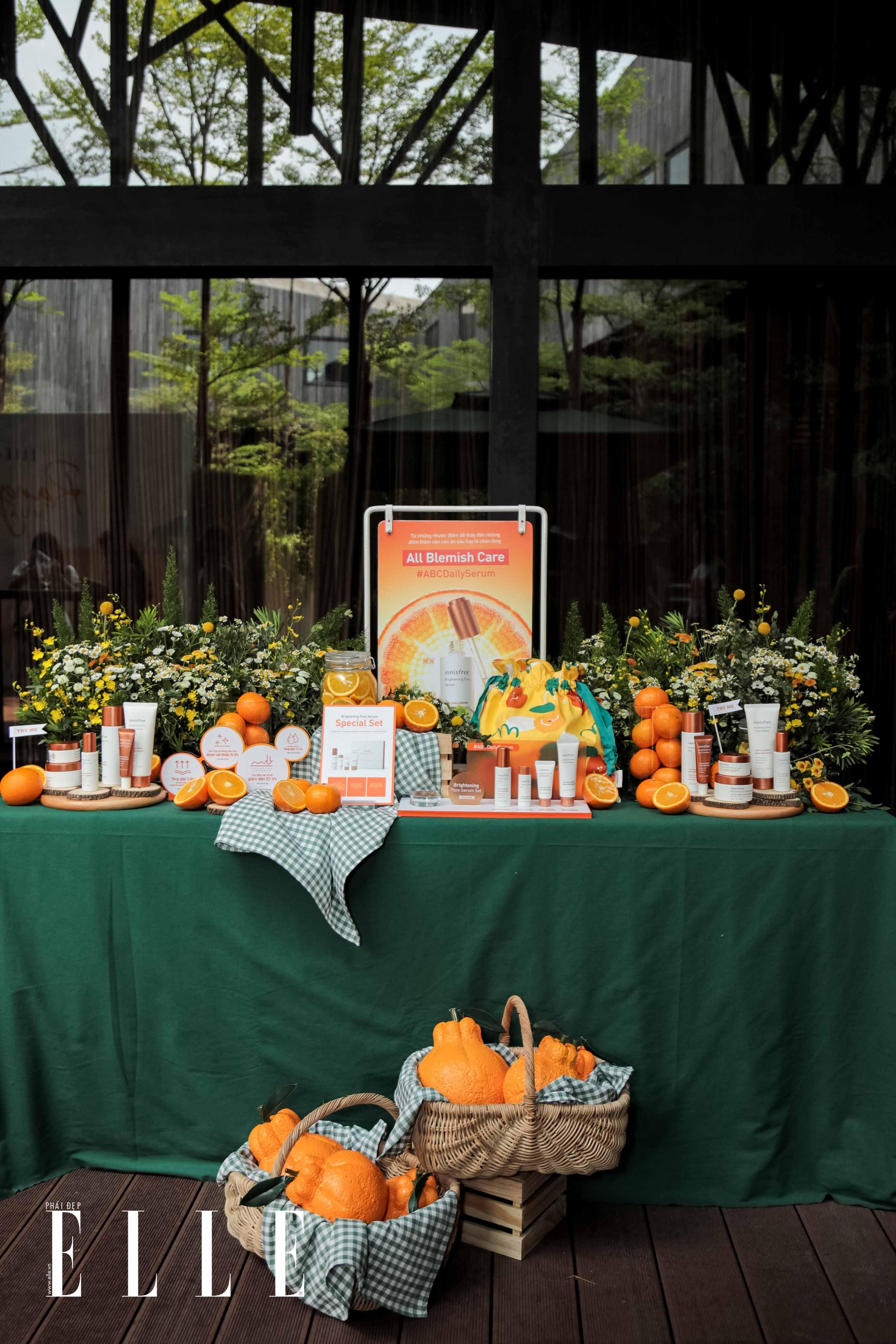 Sản phẩm được trưng bày tại tại sự kiện workshop rạng rỡ mùa quýt chín của innisfree