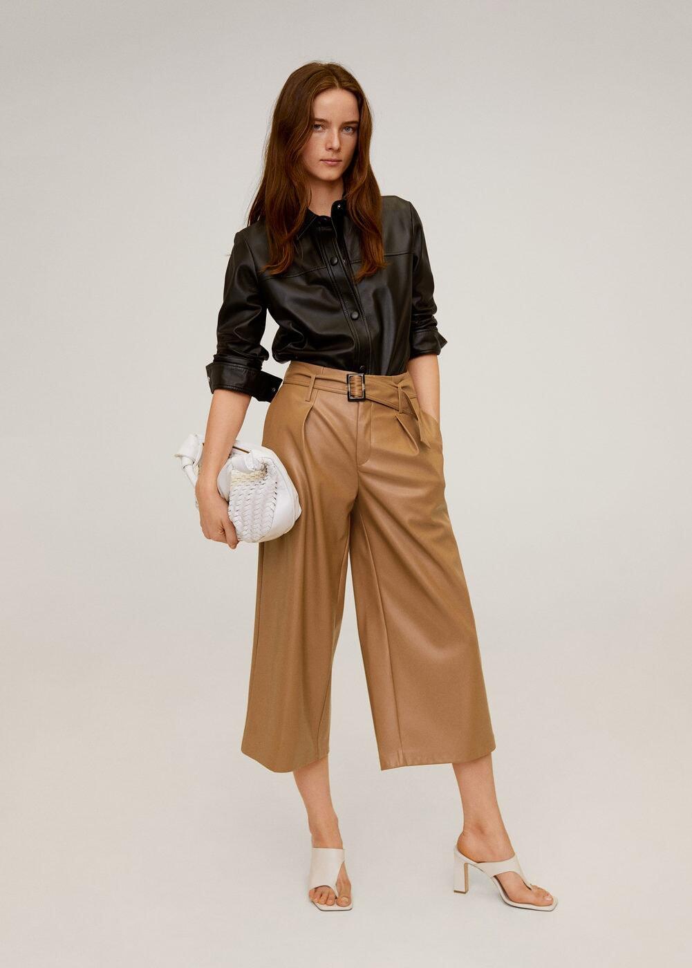 quần culottes da áo sơmi da đen mango