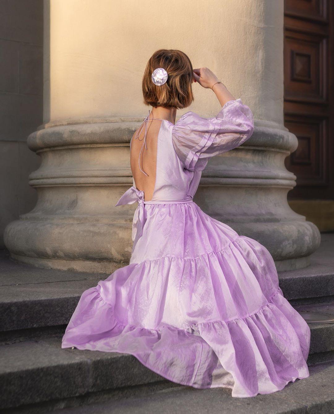 Đầm voan cổ điển màu tím lilac
