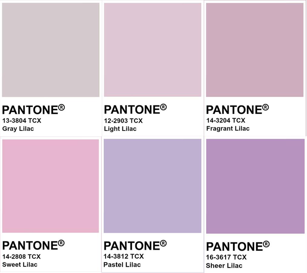 Các màu tím lilac khác nhau trên hệ thống Pantone