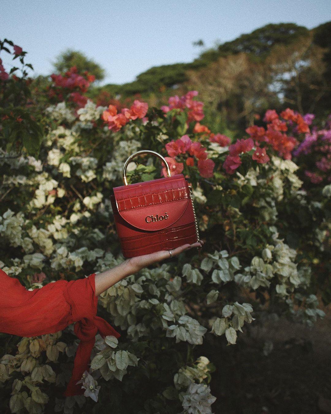 Túi xách đỏ dạng hộp của Chloe