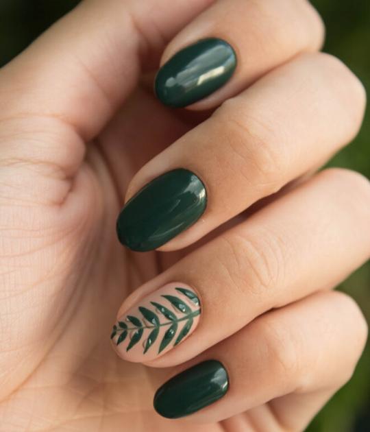 kiểu nail đẹp - xanh lá