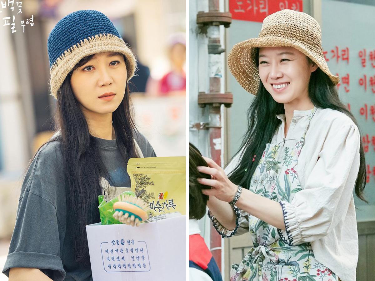 Thời trang trong phim khi hoa trà nở - Gong Hyo Jin đội mũ cói