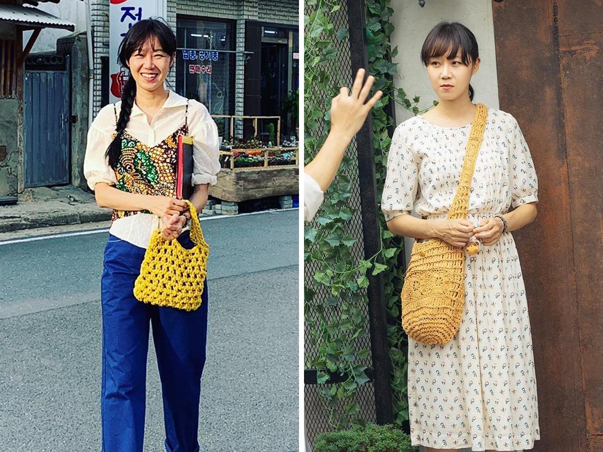 Thời trang trong phim khi hoa trà nở - Gong Hyo Jin đeo túi cói