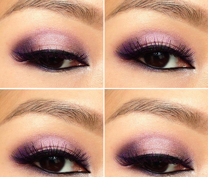 Cô gái châu Á trang điểm mắt tím lấp lánh
