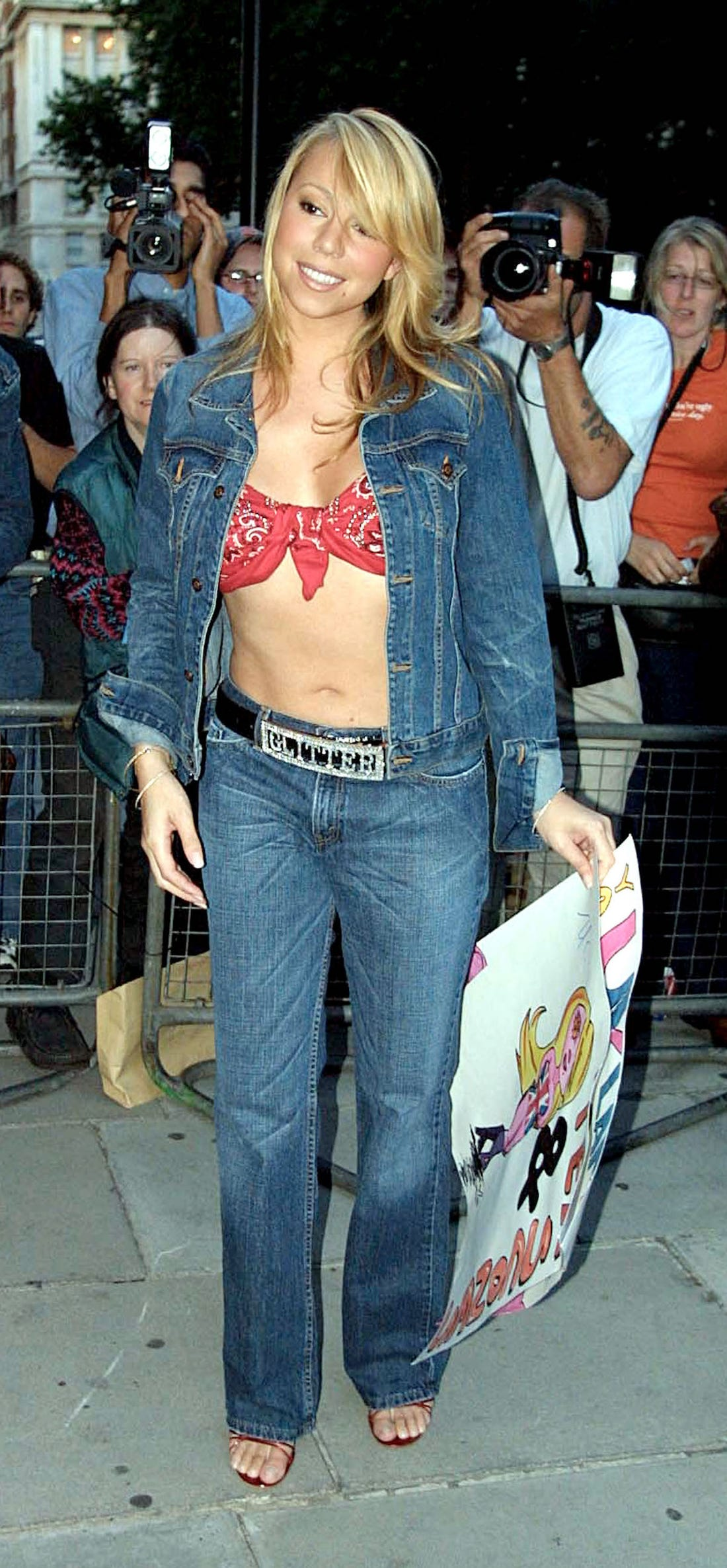 Mariah Carey wearing bandana top