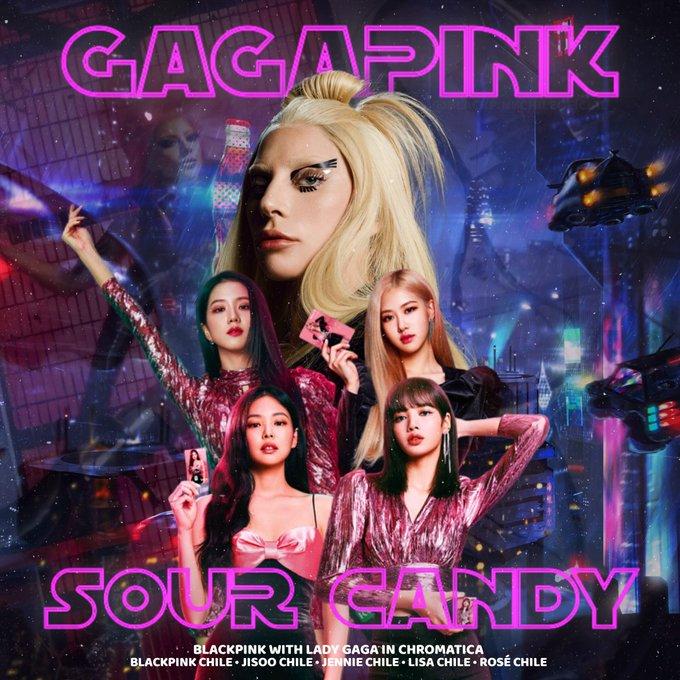 poster sour candy của Lady Gaga và Blackpink