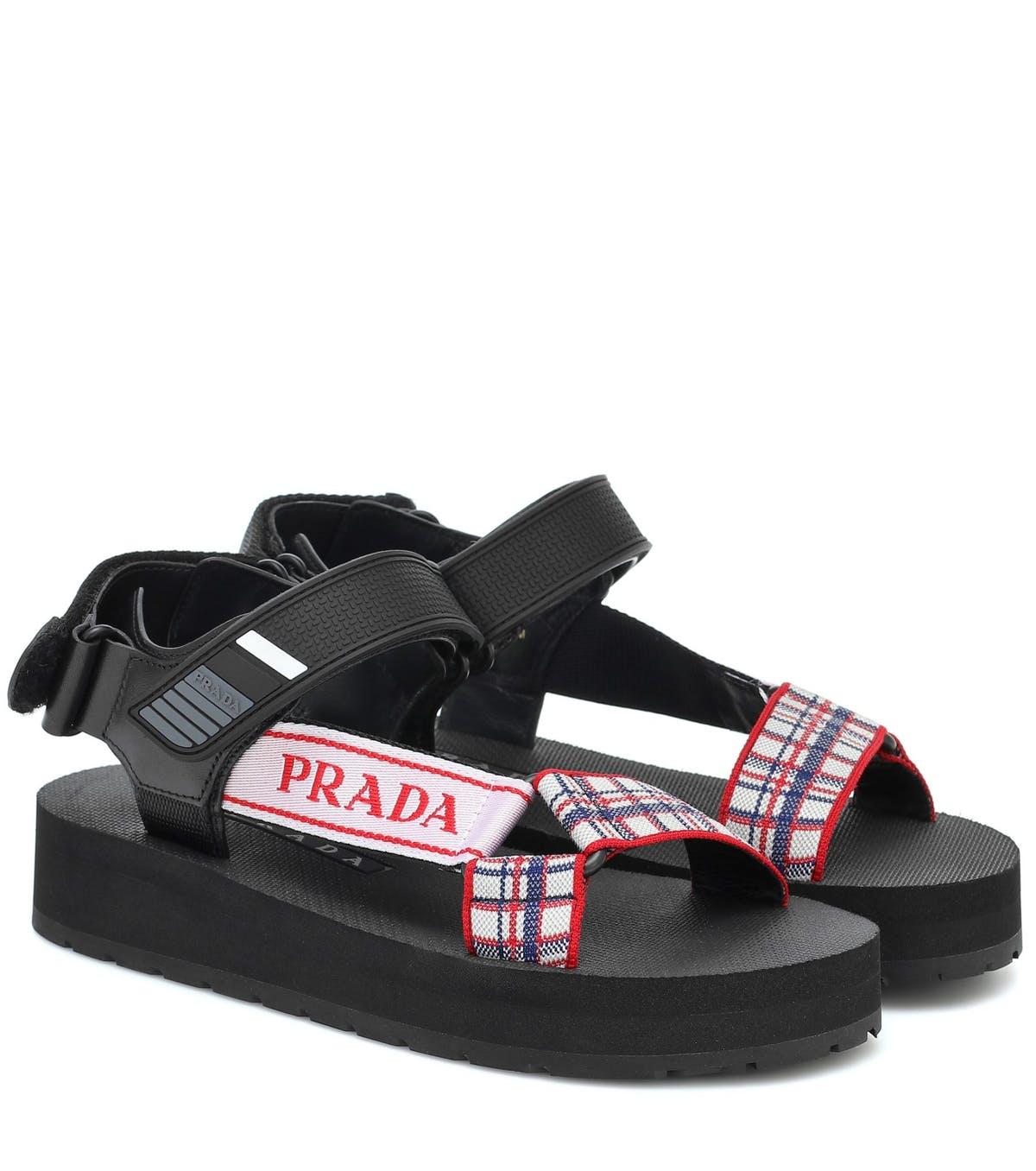 giày sandal nữ đế thô Prada