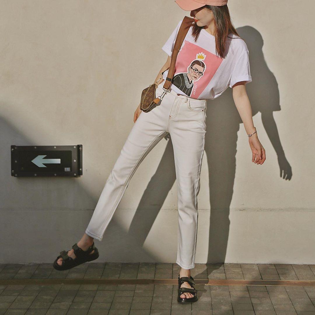 stylebyvv giày sandal nữ đế thô và áo thun, quần suôn