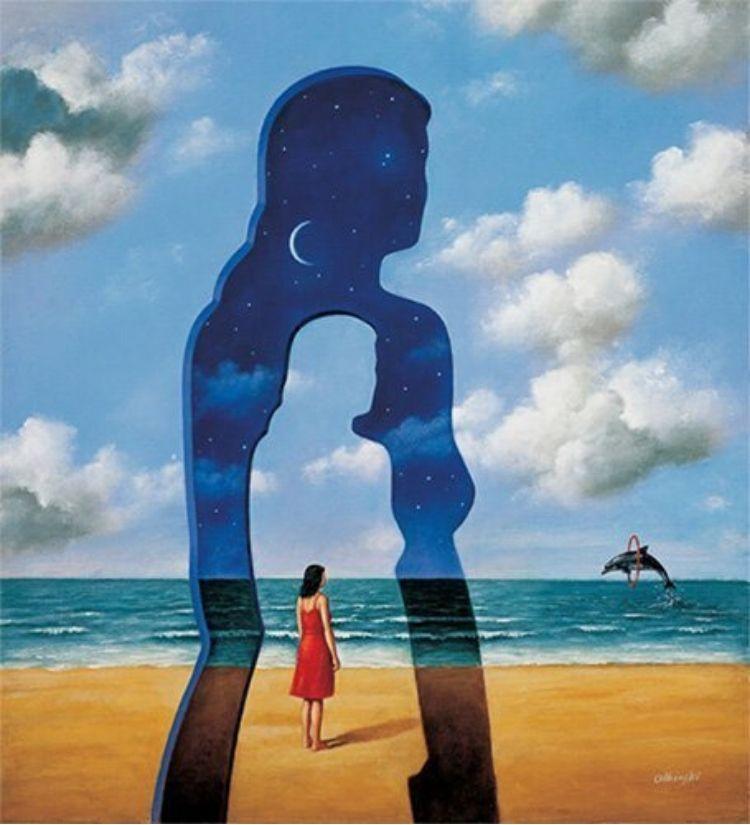 trắc nghiệm cô gái bầu trời cá heo biển mây