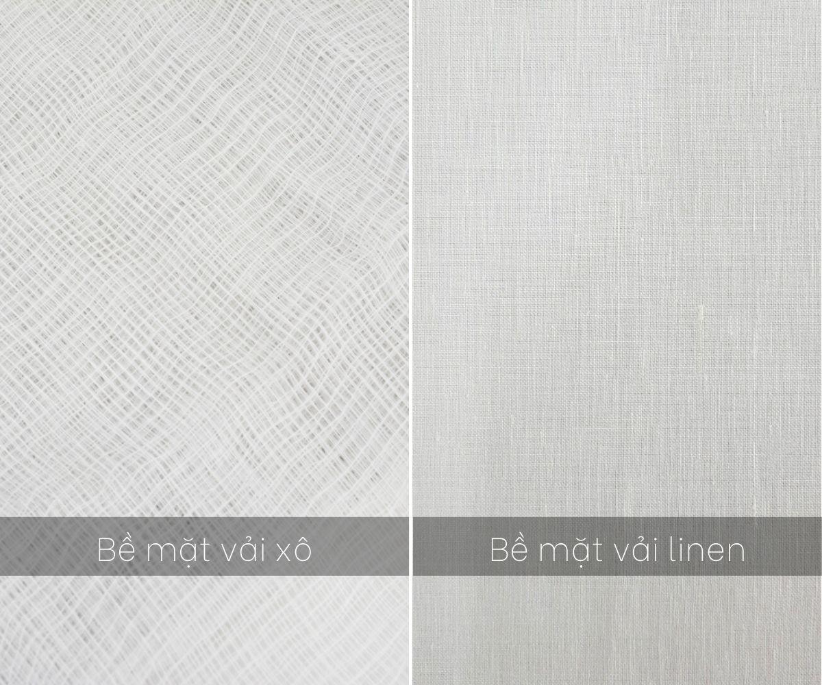 phân biệt bề mặt hai loại vải xô và linen