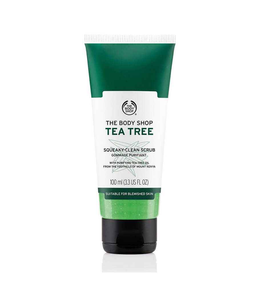 dưỡng da bằng gel tẩy tế bào chết cho da nhờn Tea Tree Squeaky Clean Scrub của The Body Shop