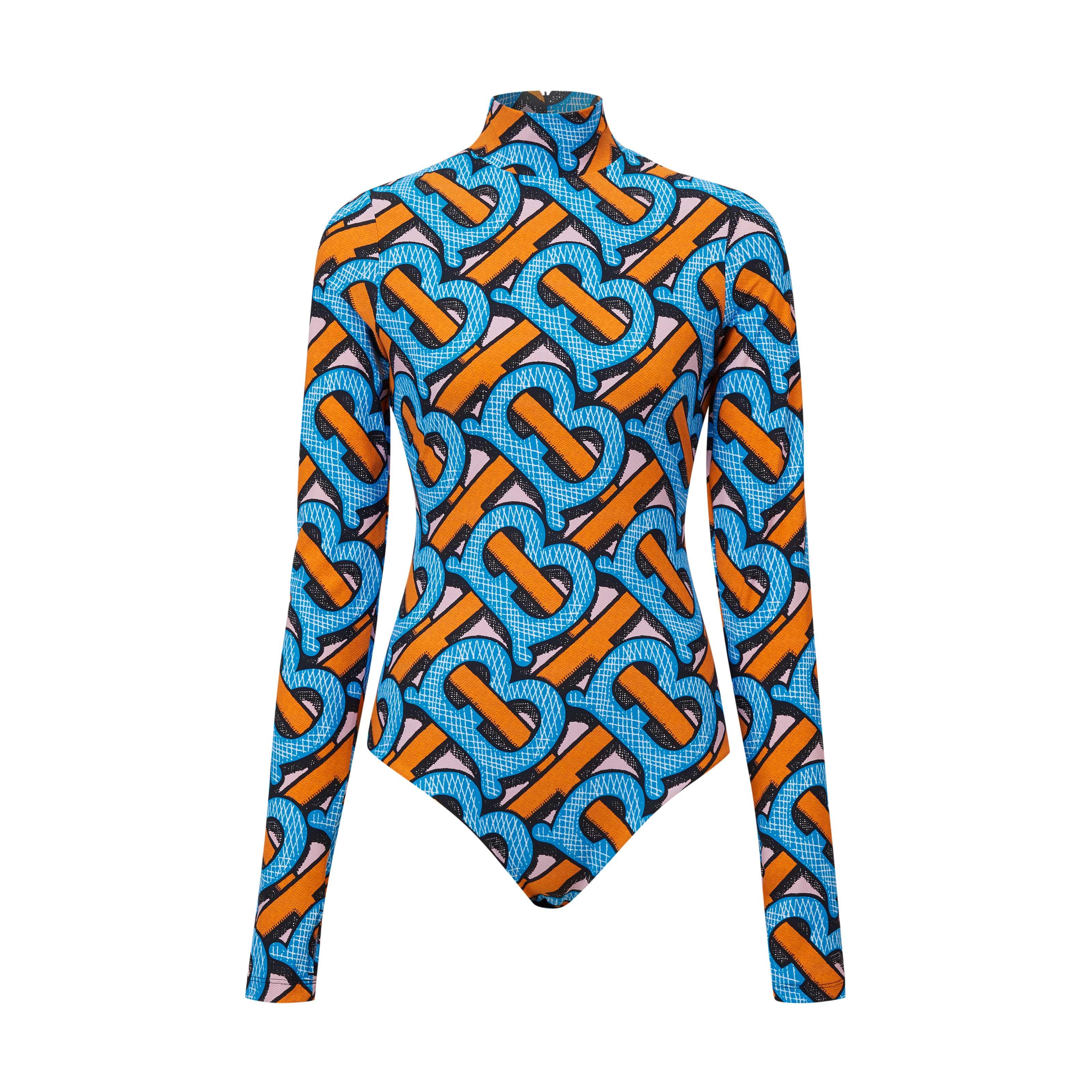 bodysuit tay dài in họa tiết màu xanh và cam trong BST Burberry TB Summer Monogram