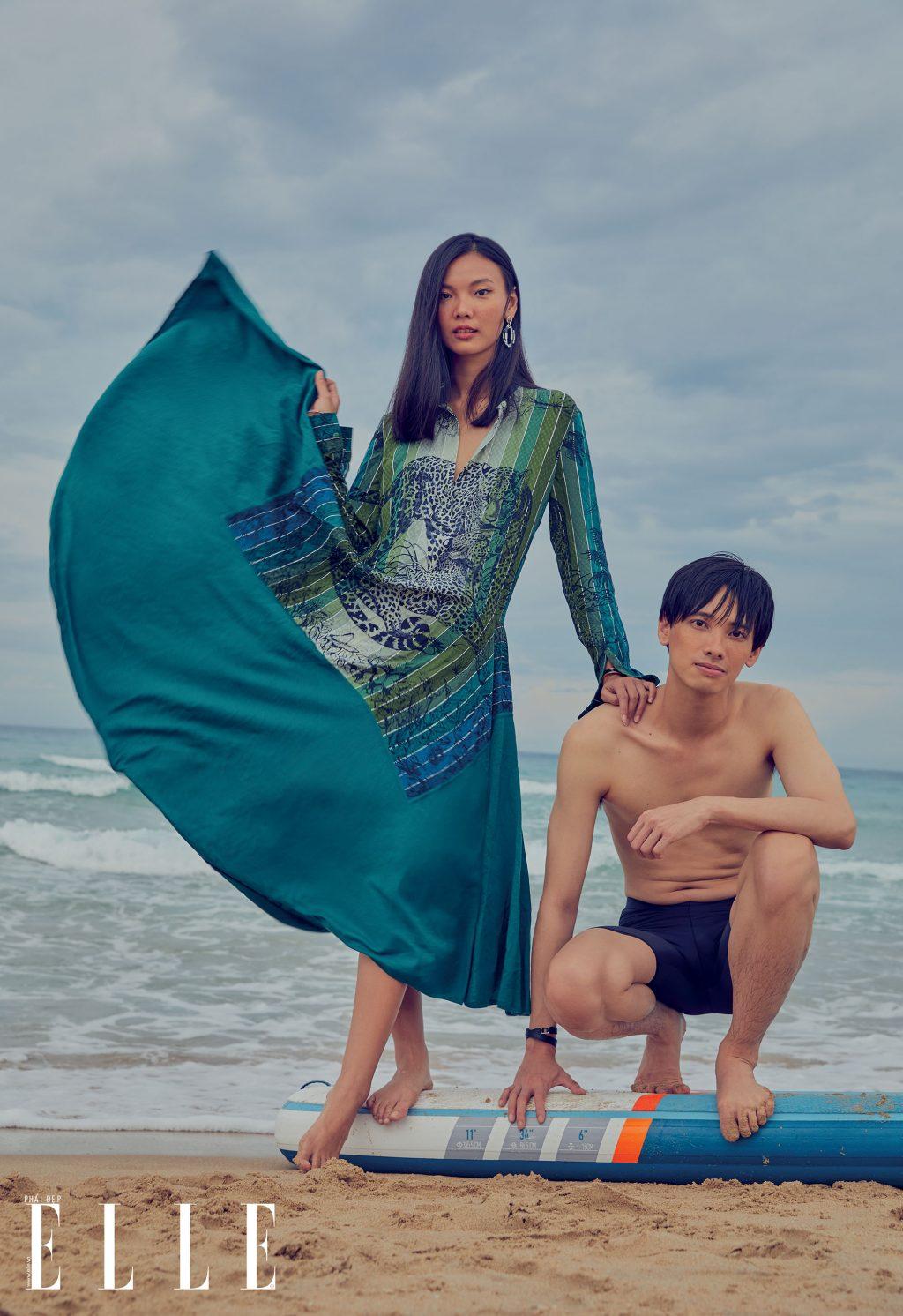 bộ ảnh thời trang mùa Hè người mẫu mặc đầm Hermes