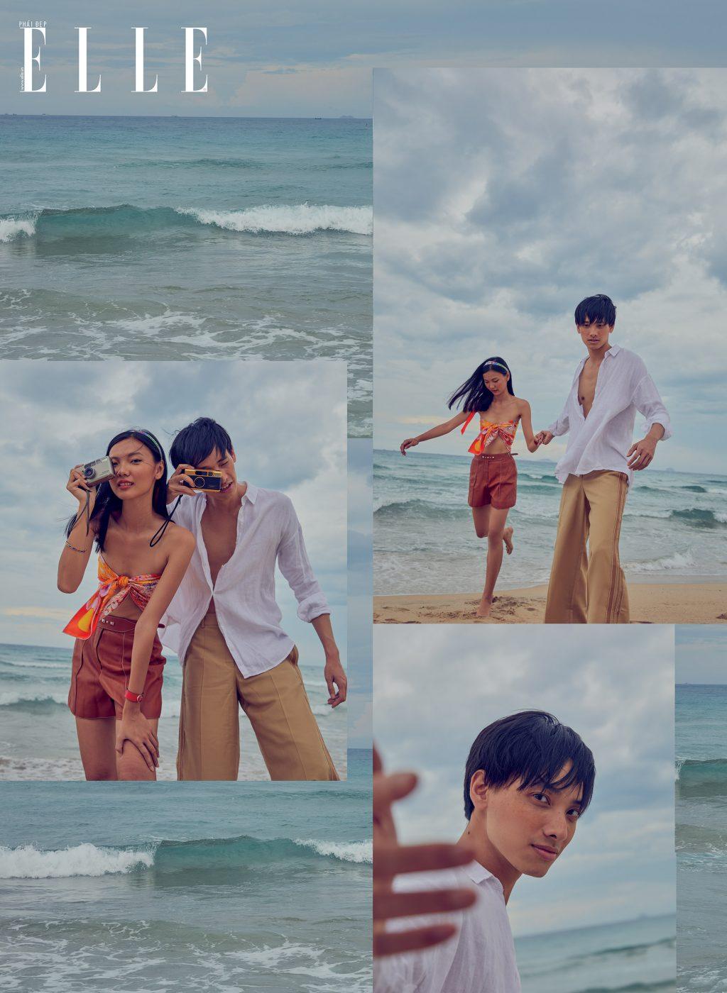 bộ ảnh thời trang mùa Hè cặp đôi năm tay nhau trên biển