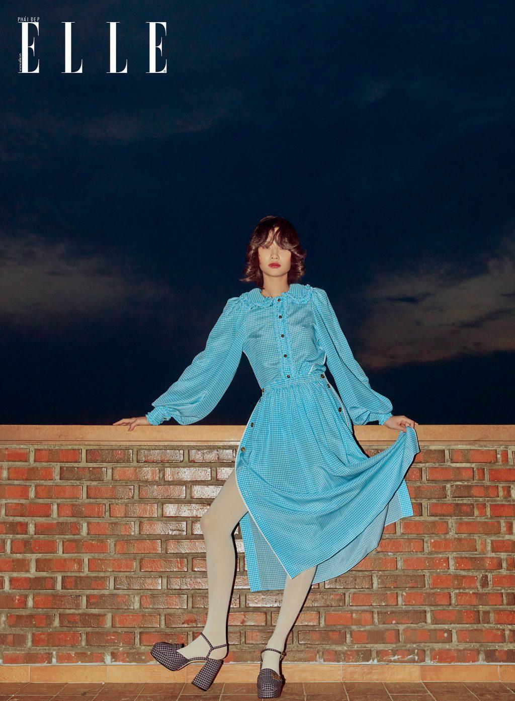bộ ảnh người mẫu mặc đầm xanh