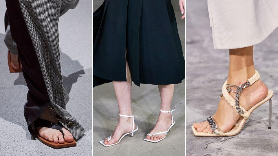 xu hướng thời trang giày sandal nữ mũi vuông trên sàn diễn